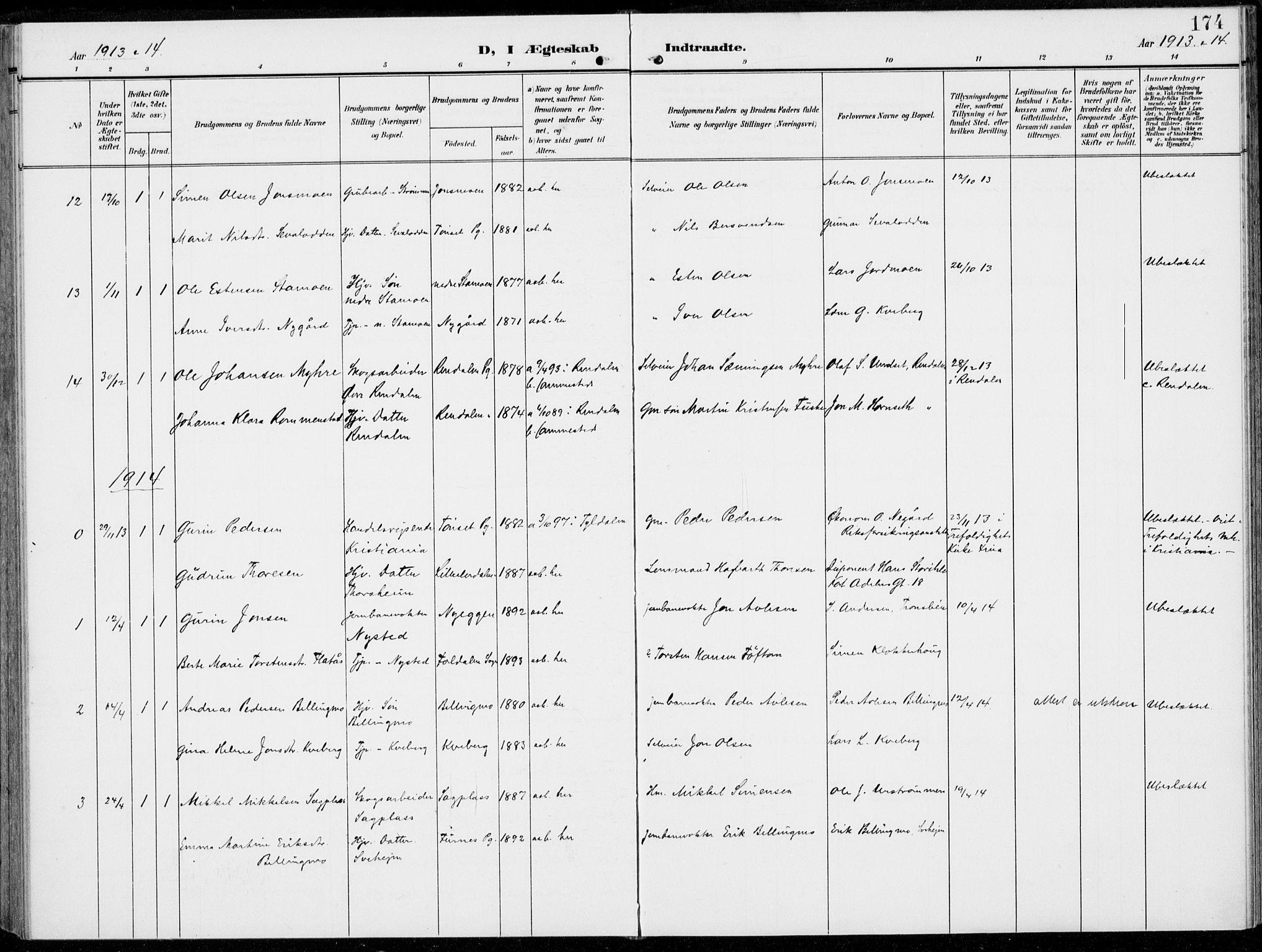 SAH, Alvdal prestekontor, Ministerialbok nr. 4, 1907-1919, s. 174