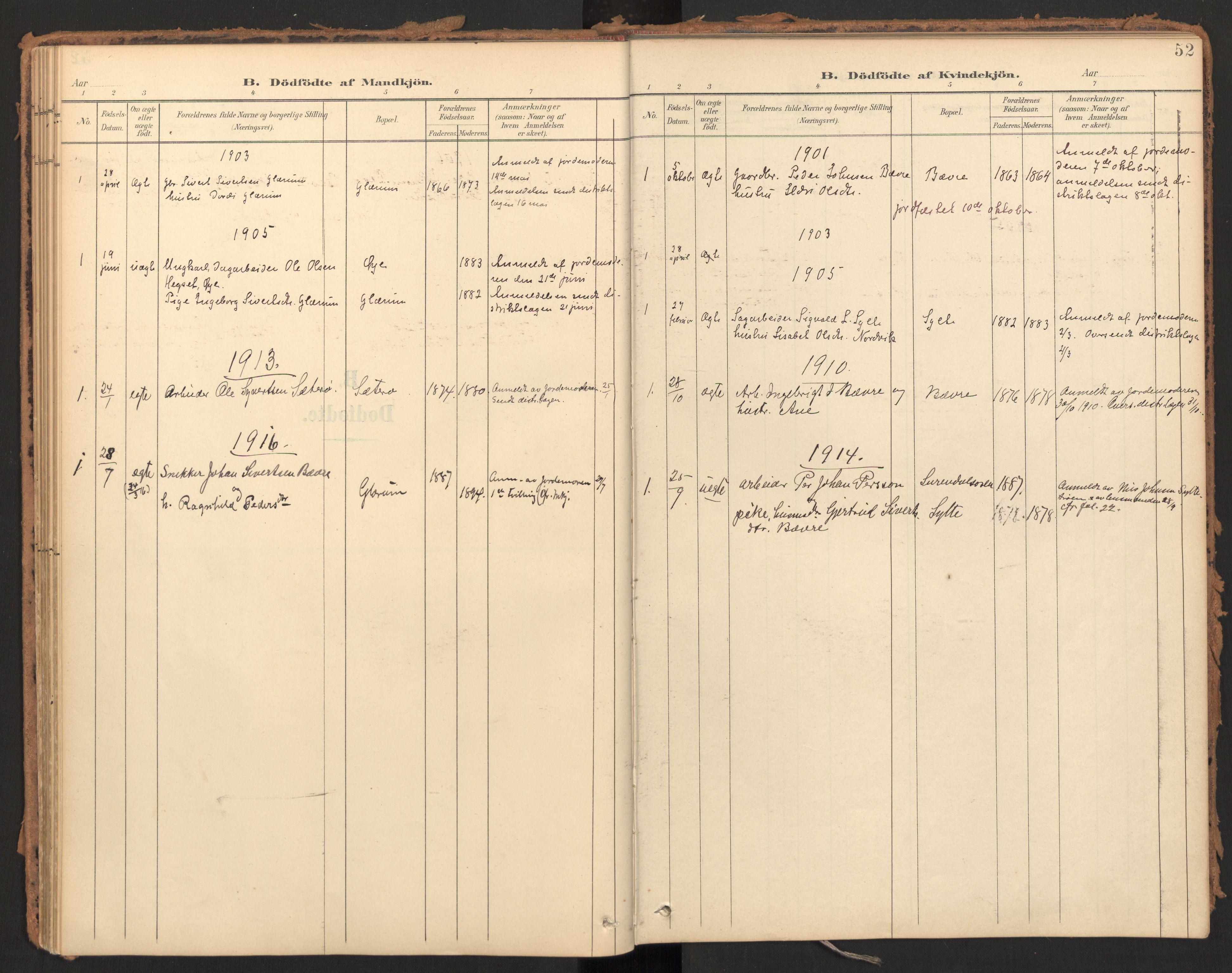 SAT, Ministerialprotokoller, klokkerbøker og fødselsregistre - Møre og Romsdal, 595/L1048: Ministerialbok nr. 595A10, 1900-1917, s. 52