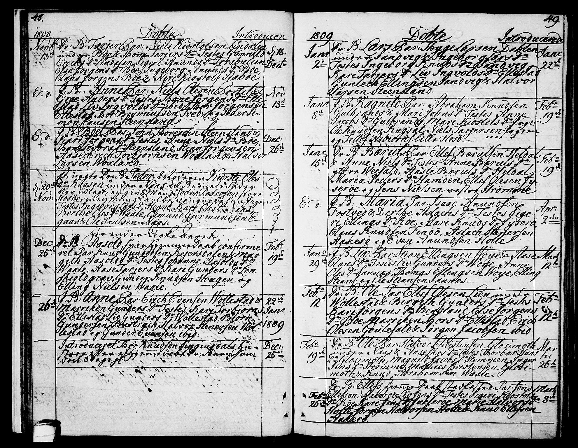 SAKO, Drangedal kirkebøker, F/Fa/L0004: Ministerialbok nr. 4, 1802-1814, s. 48-49