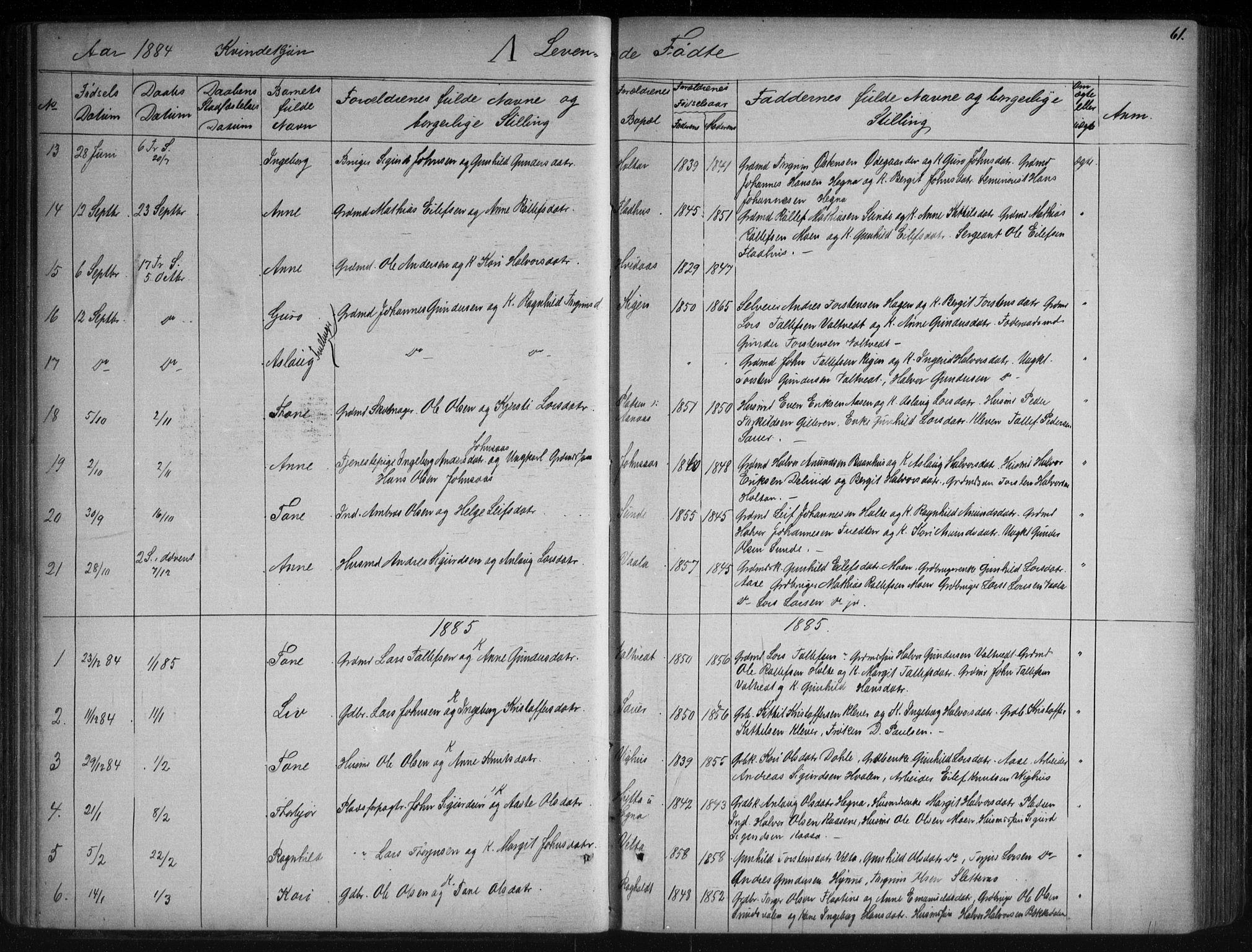 SAKO, Sauherad kirkebøker, G/Ga/L0003: Klokkerbok nr. I 3, 1866-1905, s. 61