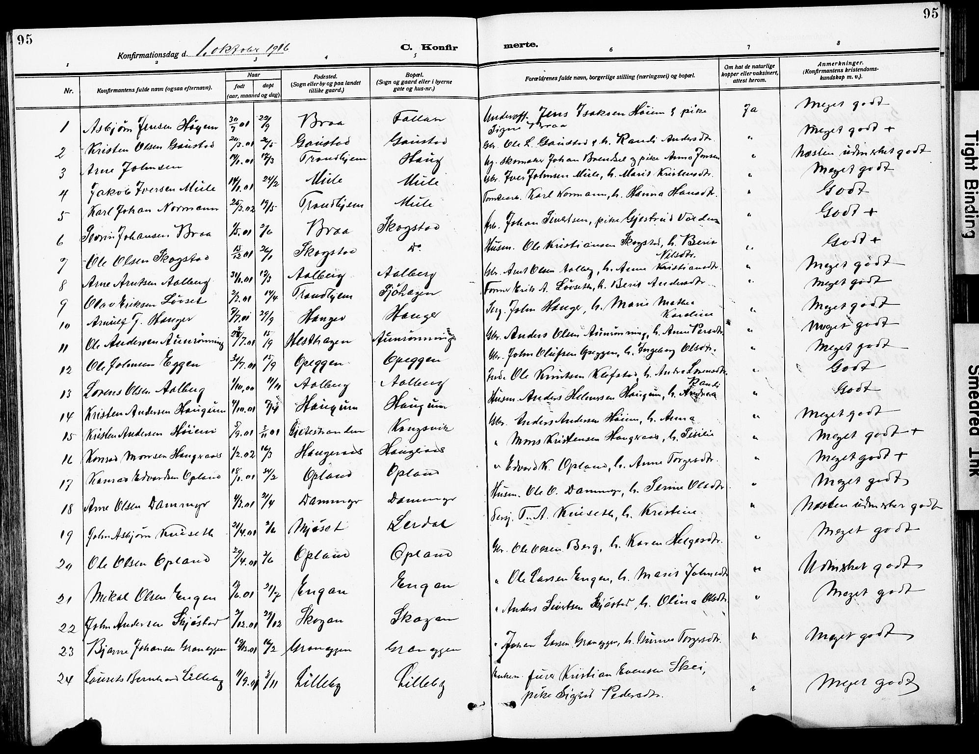 SAT, Ministerialprotokoller, klokkerbøker og fødselsregistre - Sør-Trøndelag, 612/L0388: Klokkerbok nr. 612C04, 1909-1929, s. 95