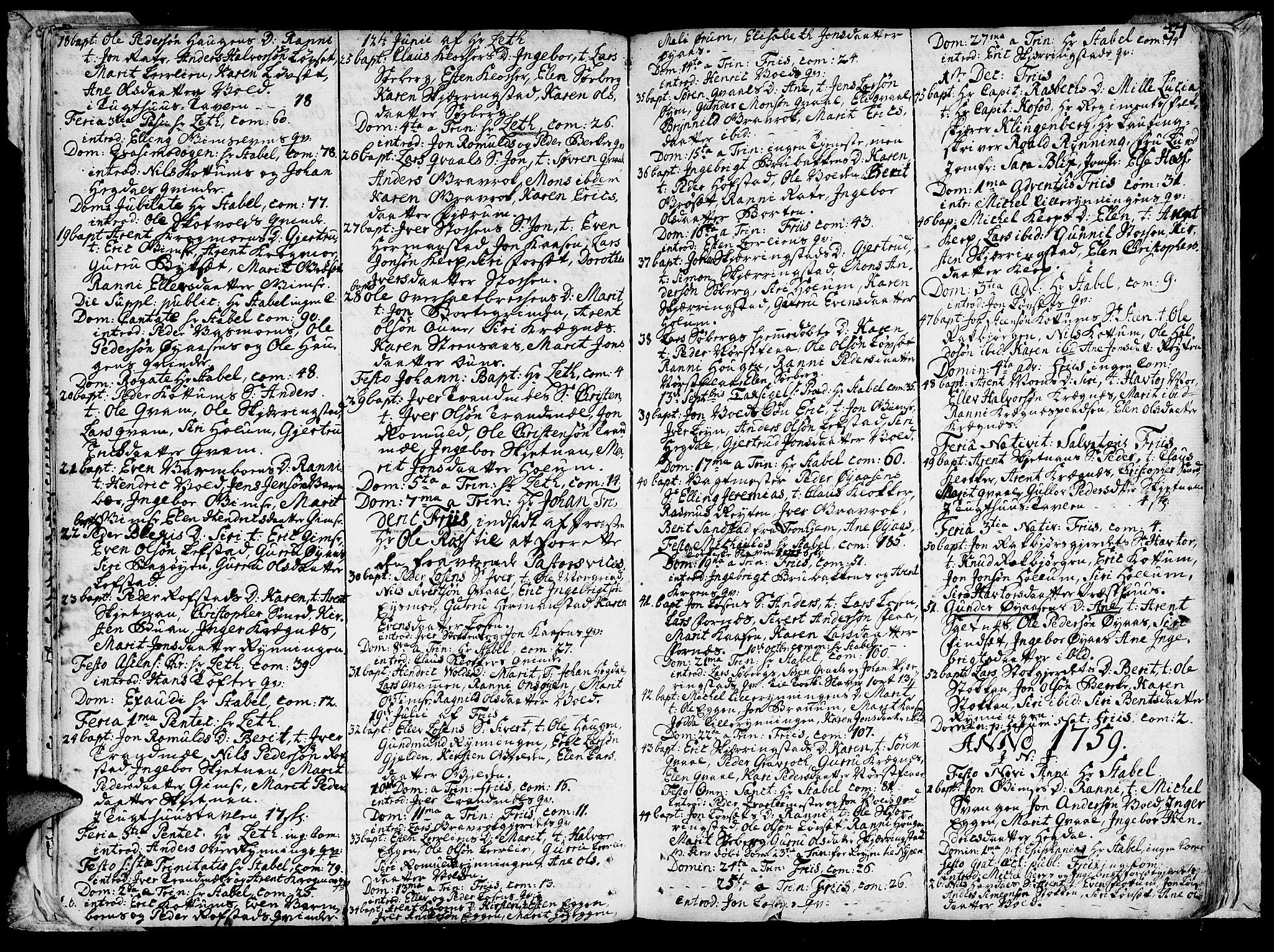 SAT, Ministerialprotokoller, klokkerbøker og fødselsregistre - Sør-Trøndelag, 691/L1057: Ministerialbok nr. 691A01 /1, 1740-1767, s. 37