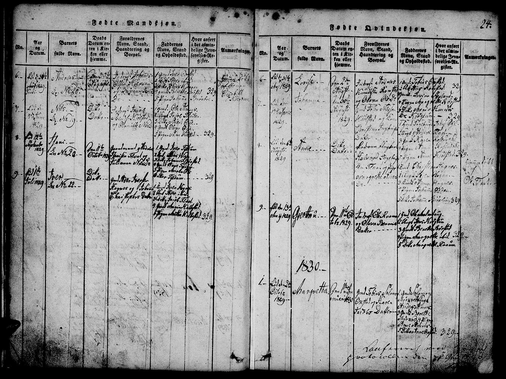 SAT, Ministerialprotokoller, klokkerbøker og fødselsregistre - Nord-Trøndelag, 765/L0562: Klokkerbok nr. 765C01, 1817-1851, s. 24
