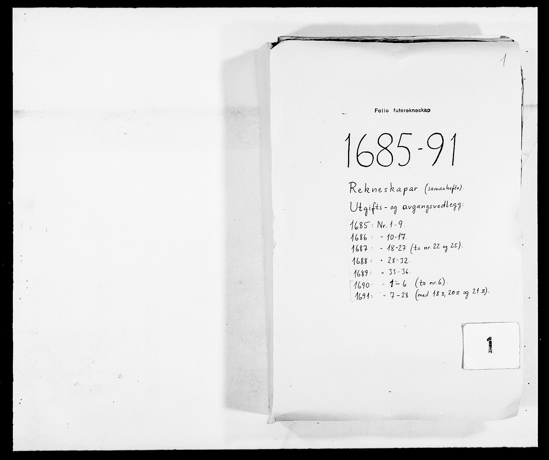 RA, Rentekammeret inntil 1814, Reviderte regnskaper, Fogderegnskap, R09/L0436: Fogderegnskap Follo, 1685-1691, s. 1