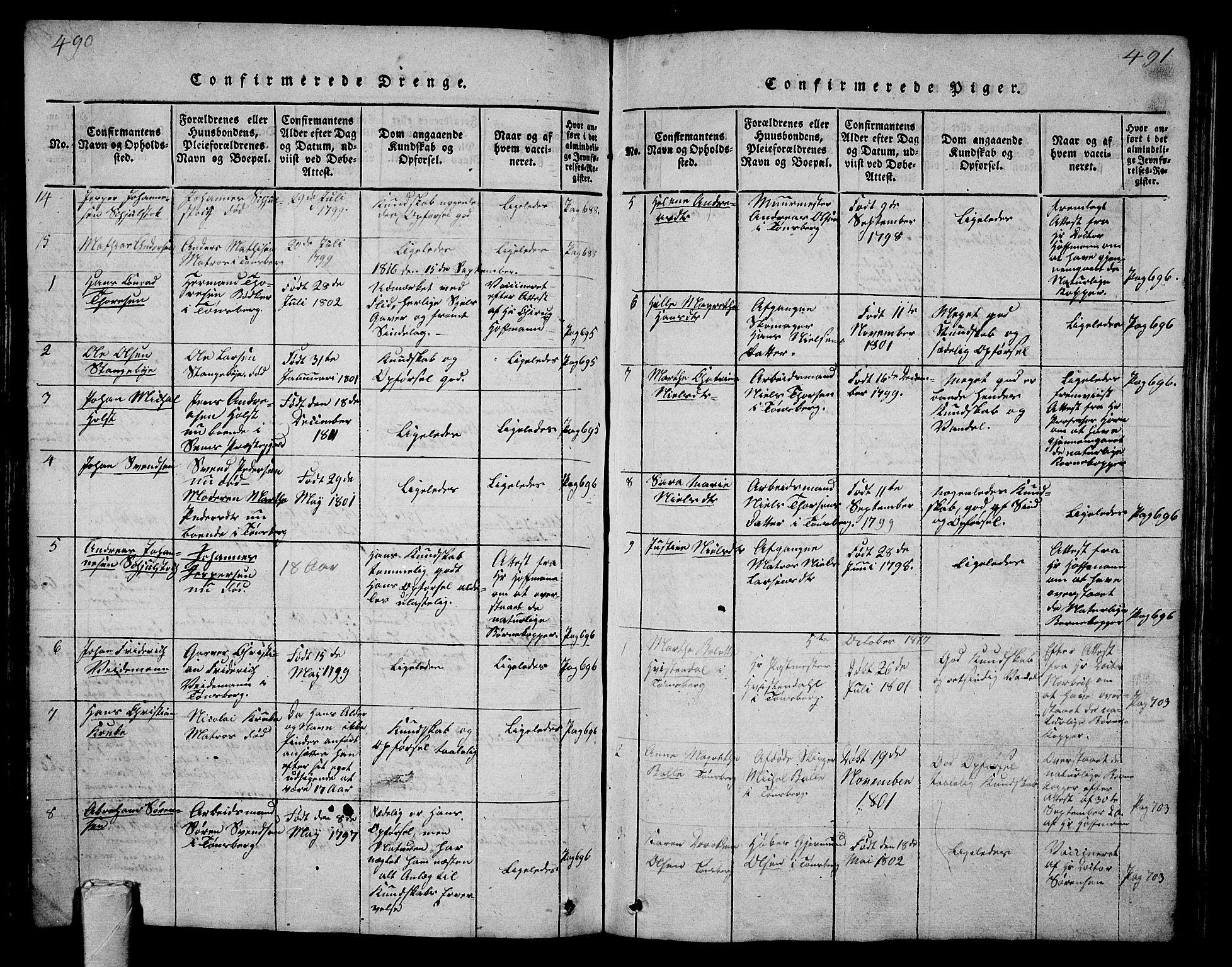 SAKO, Tønsberg kirkebøker, G/Ga/L0001: Klokkerbok nr. 1, 1813-1826, s. 490-491