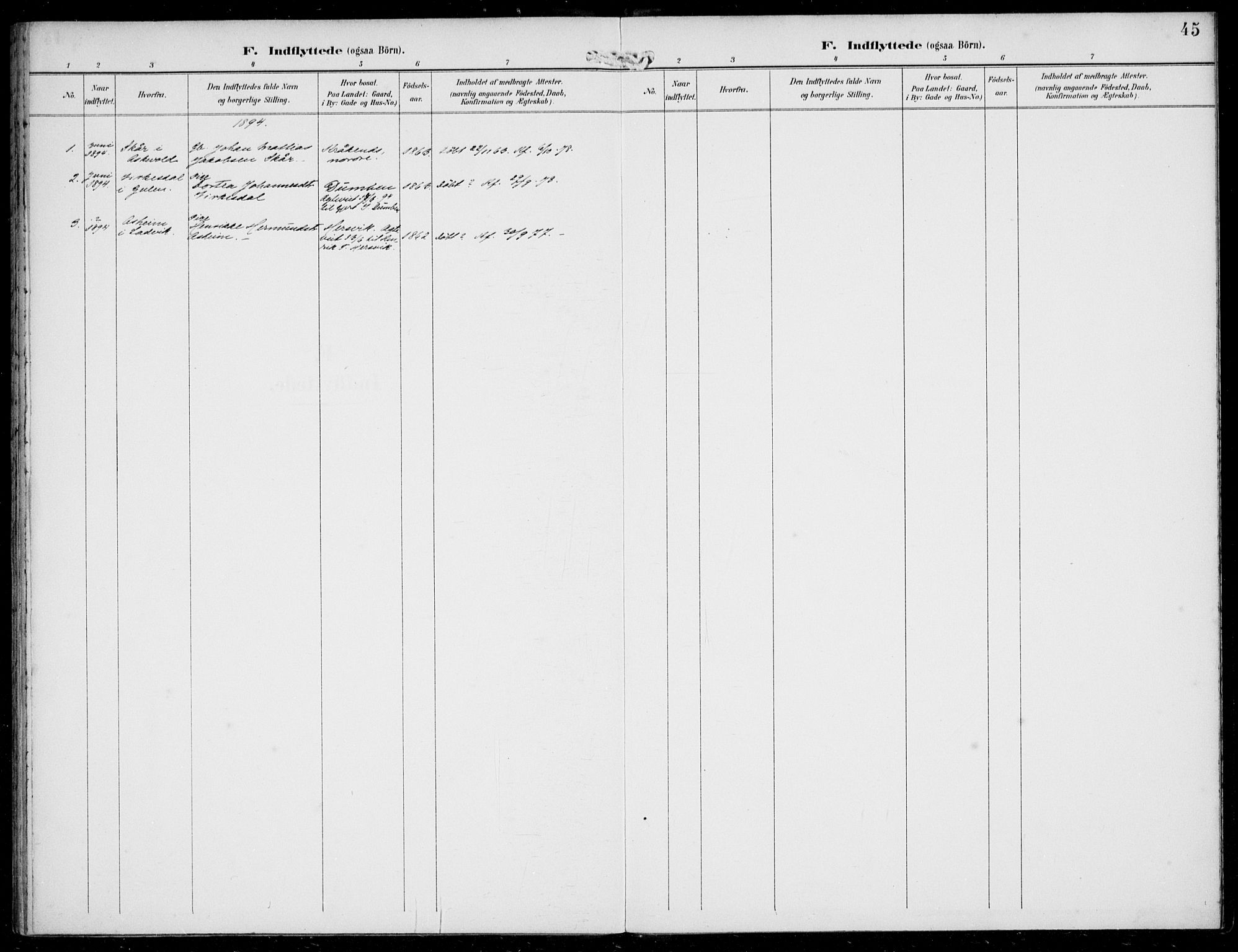 SAB, Solund sokneprestembete, Ministerialbok nr. B  1, 1891-1901, s. 45