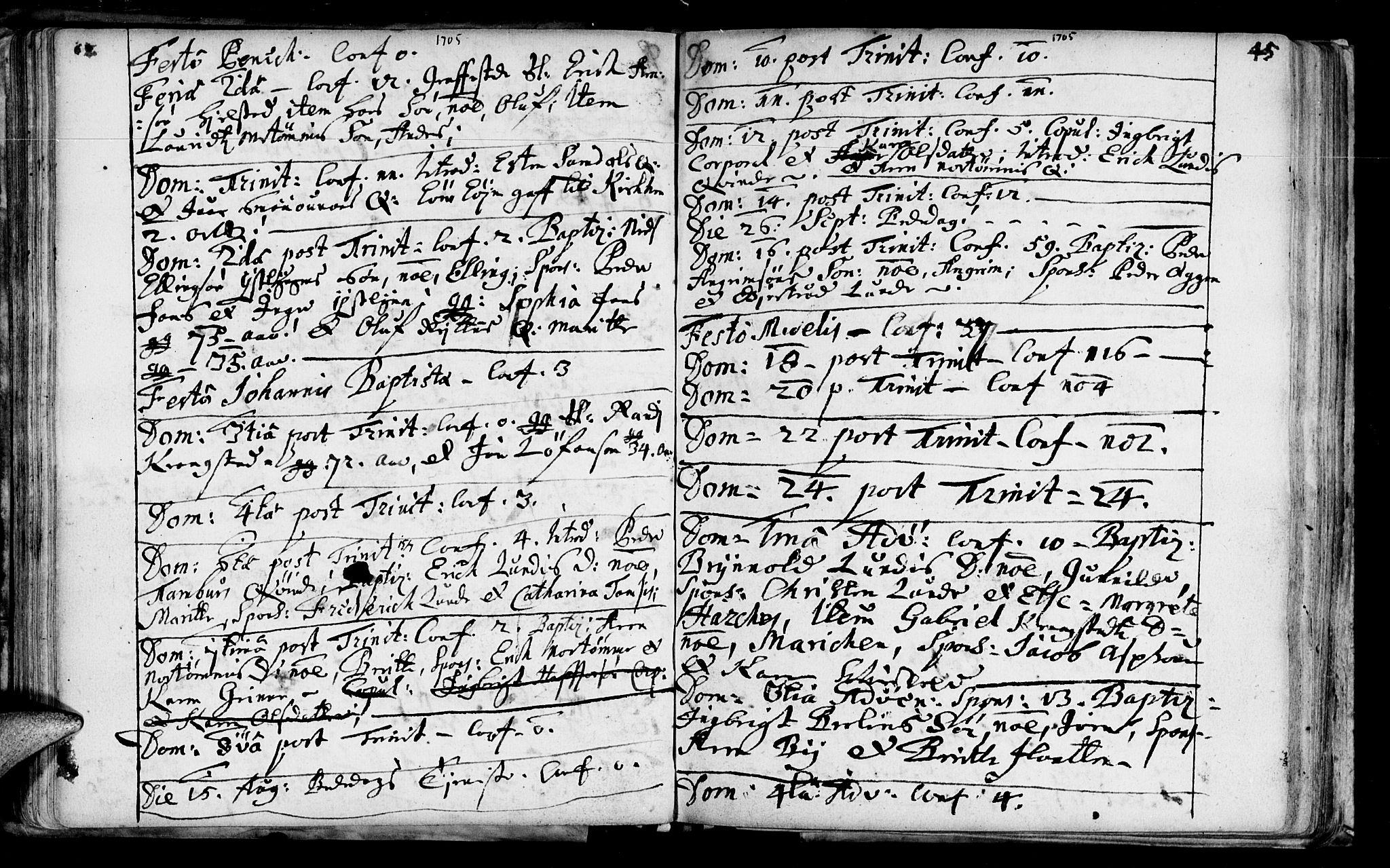 SAT, Ministerialprotokoller, klokkerbøker og fødselsregistre - Sør-Trøndelag, 692/L1101: Ministerialbok nr. 692A01, 1690-1746, s. 45