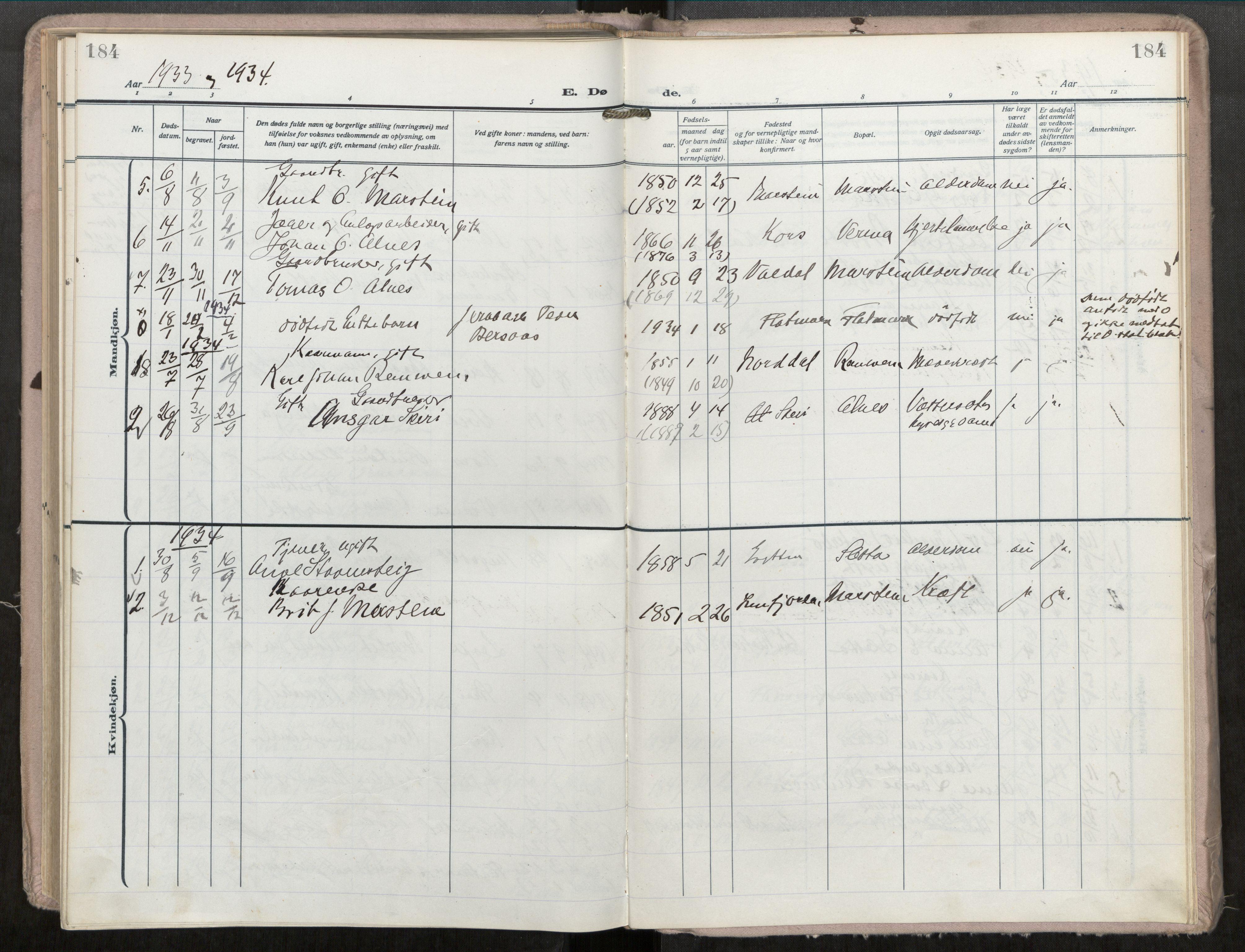SAT, Grytten sokneprestkontor, Ministerialbok nr. 546A04, 1919-1956, s. 184