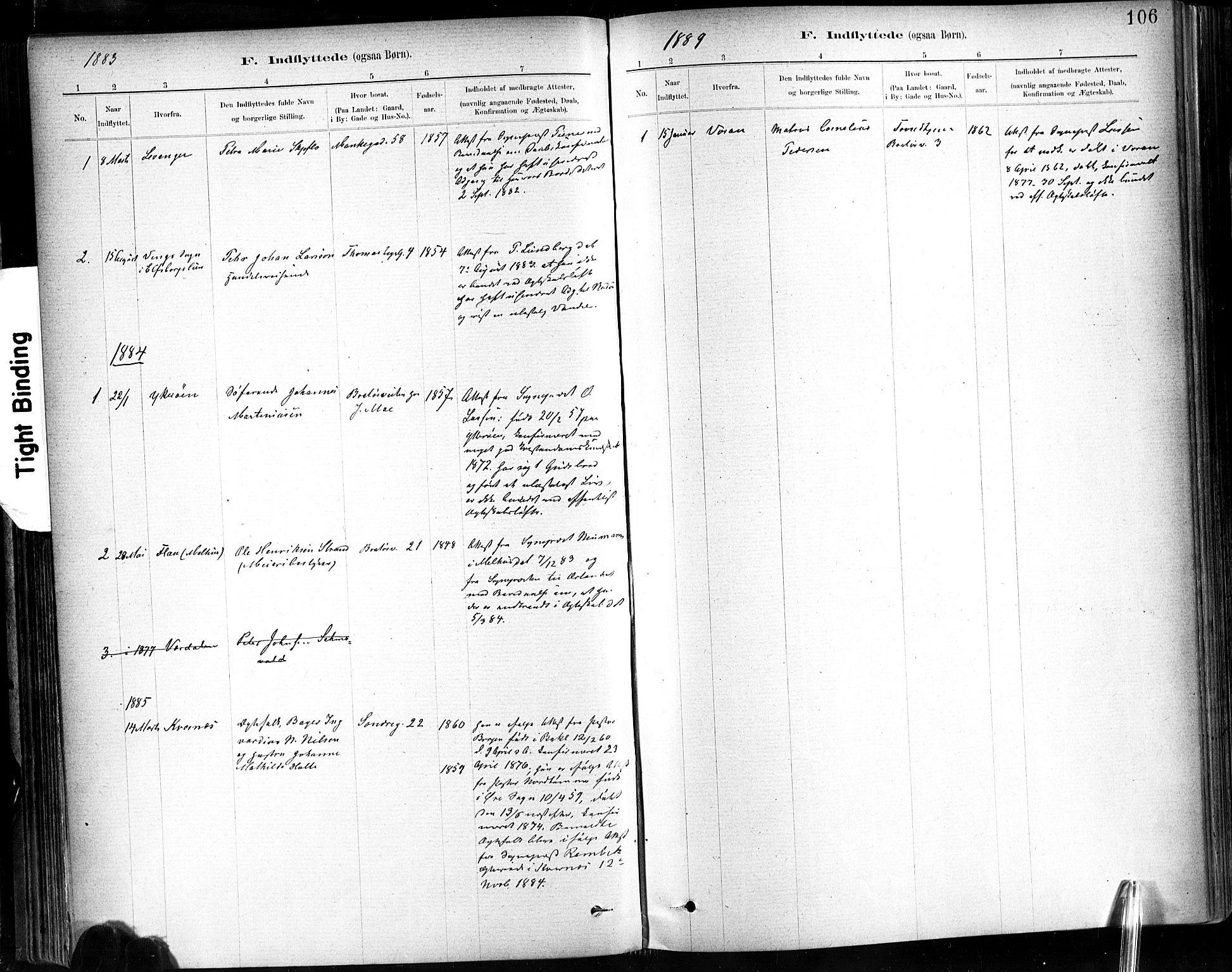 SAT, Ministerialprotokoller, klokkerbøker og fødselsregistre - Sør-Trøndelag, 602/L0120: Ministerialbok nr. 602A18, 1880-1913, s. 106
