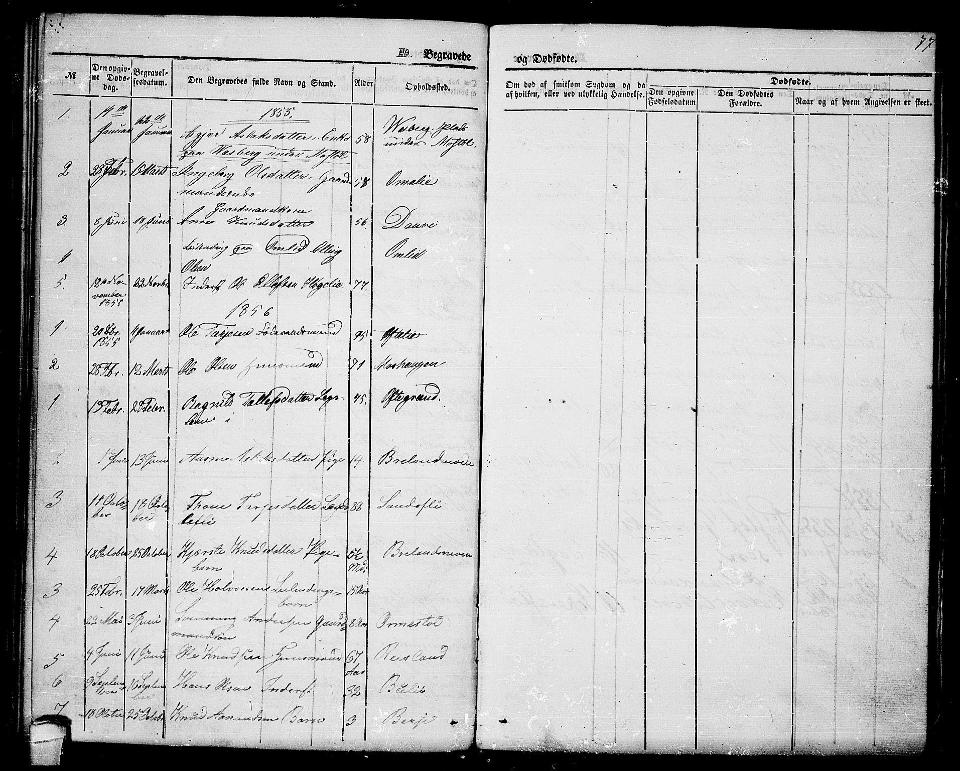 SAKO, Lårdal kirkebøker, G/Gc/L0002: Klokkerbok nr. III 2, 1852-1877, s. 77