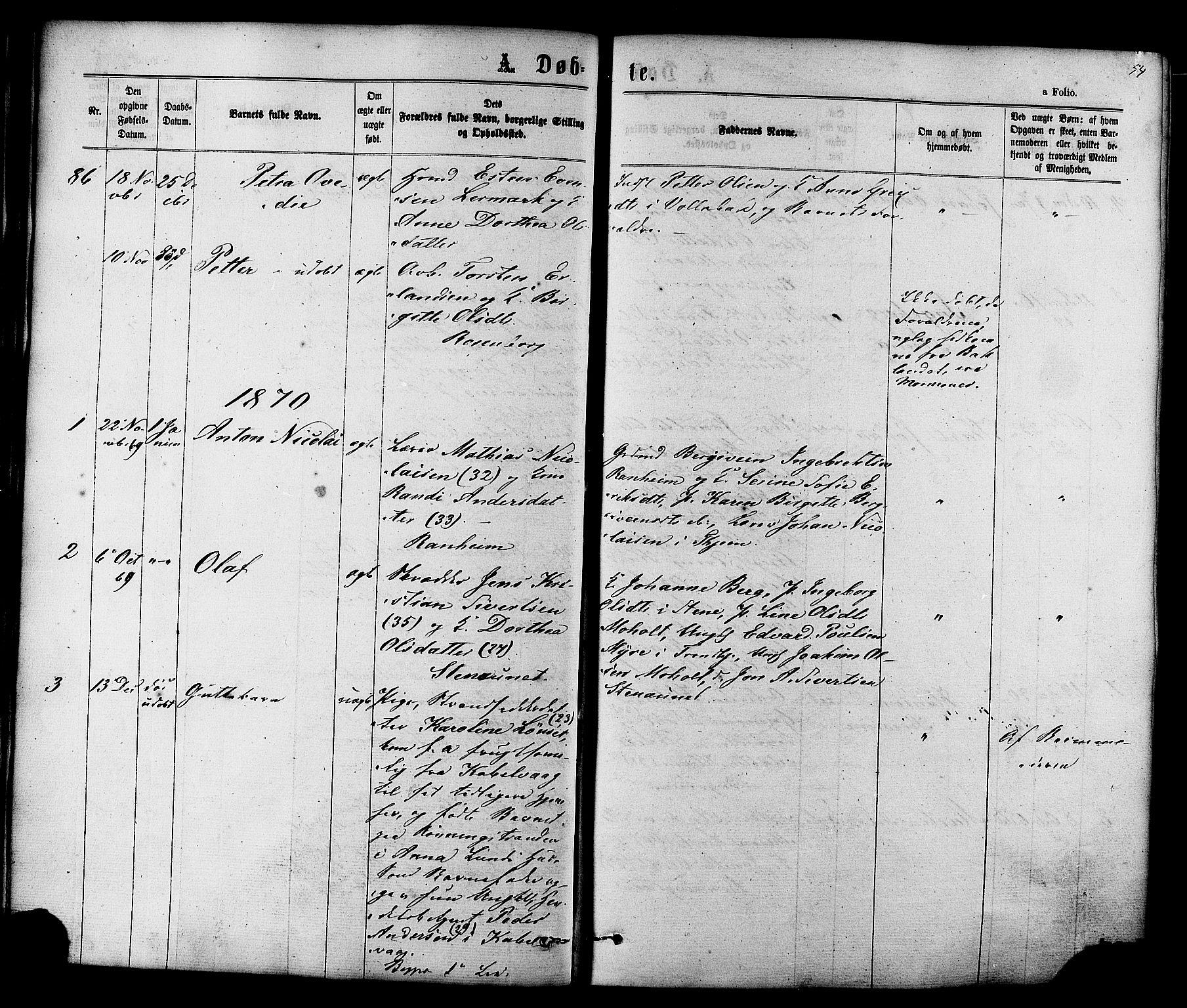 SAT, Ministerialprotokoller, klokkerbøker og fødselsregistre - Sør-Trøndelag, 606/L0293: Ministerialbok nr. 606A08, 1866-1877, s. 54