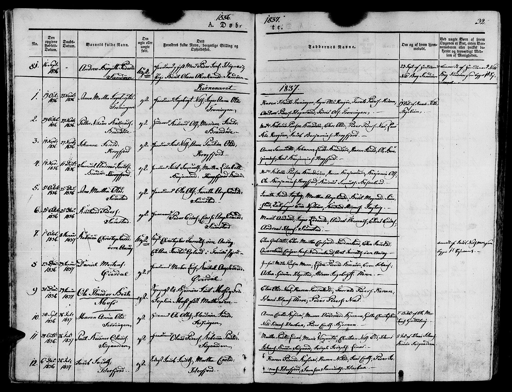 SAT, Ministerialprotokoller, klokkerbøker og fødselsregistre - Sør-Trøndelag, 657/L0703: Ministerialbok nr. 657A04, 1831-1846, s. 32
