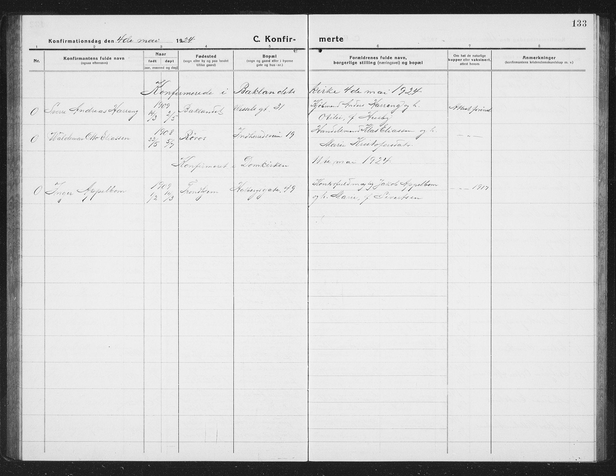 SAT, Ministerialprotokoller, klokkerbøker og fødselsregistre - Sør-Trøndelag, 605/L0258: Klokkerbok nr. 605C05, 1918-1930, s. 133