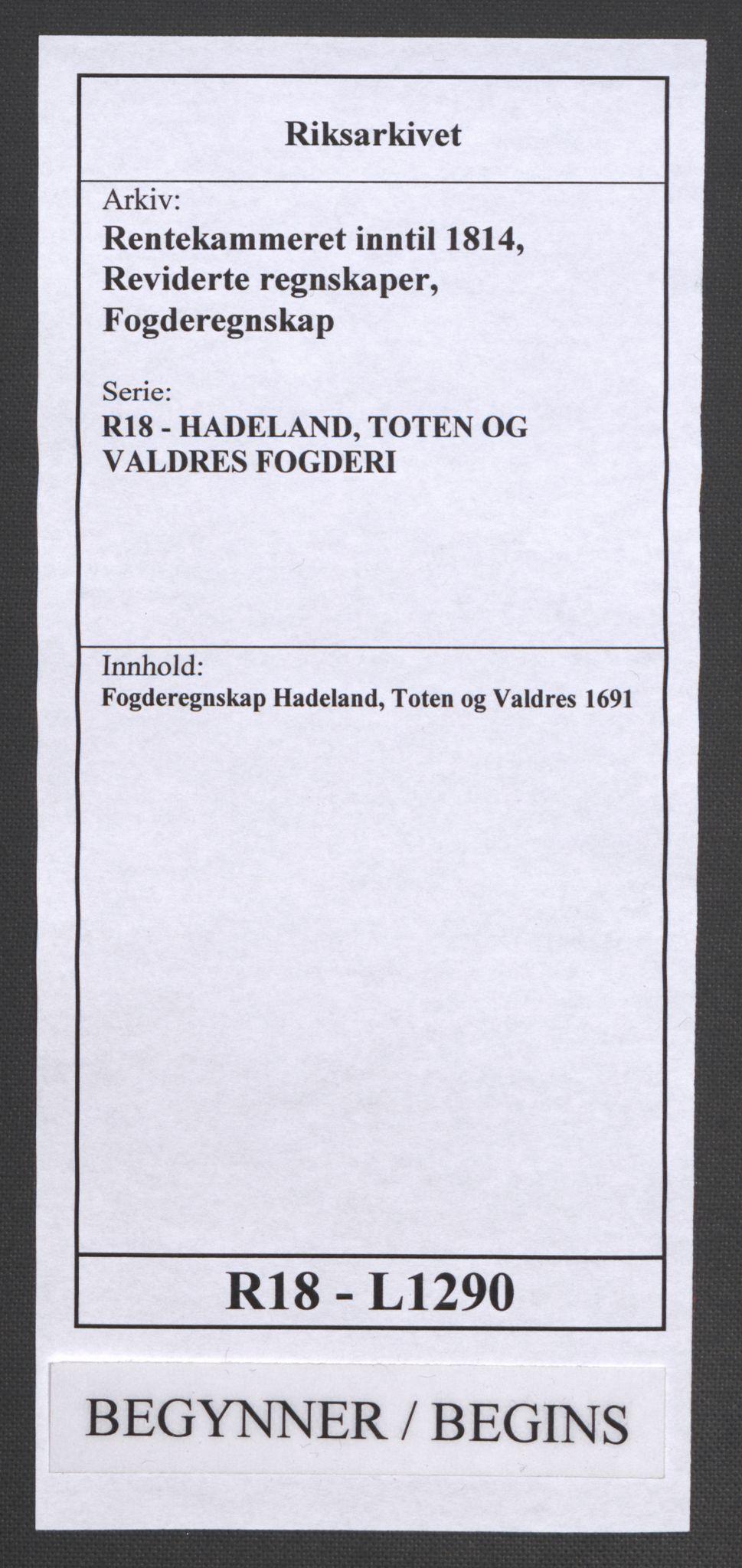 RA, Rentekammeret inntil 1814, Reviderte regnskaper, Fogderegnskap, R18/L1290: Fogderegnskap Hadeland, Toten og Valdres, 1691, s. 1