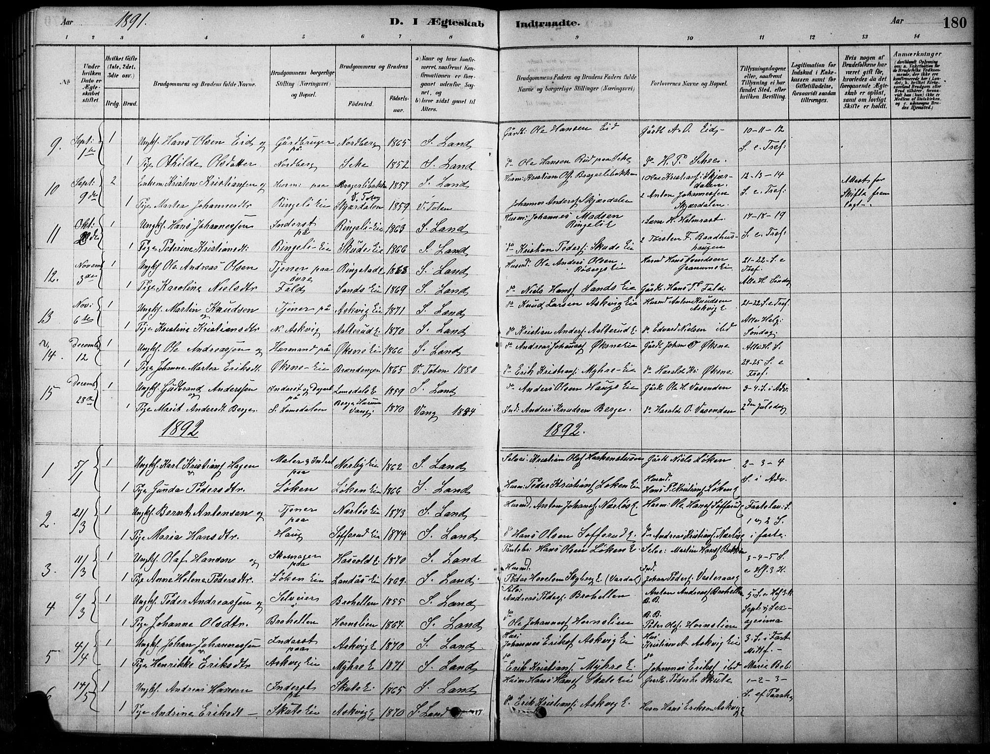 SAH, Søndre Land prestekontor, K/L0003: Ministerialbok nr. 3, 1878-1894, s. 180