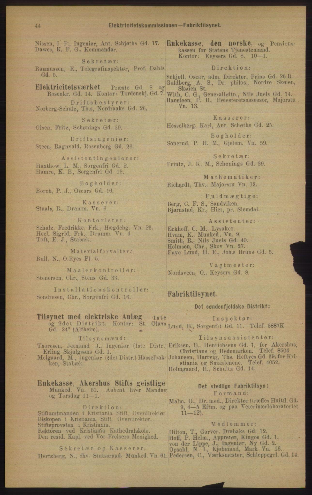 RA, Kristiania adressebok (publikasjon)*, 1906, s. 44