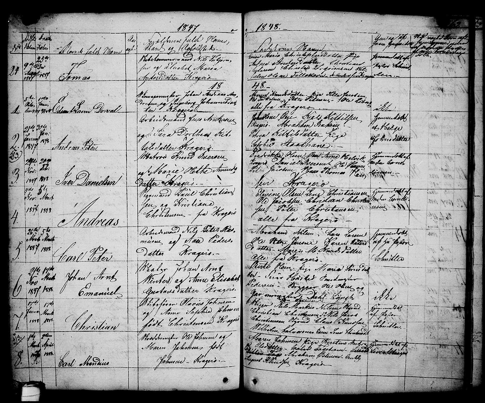 SAKO, Kragerø kirkebøker, G/Ga/L0003: Klokkerbok nr. 3, 1832-1852, s. 262