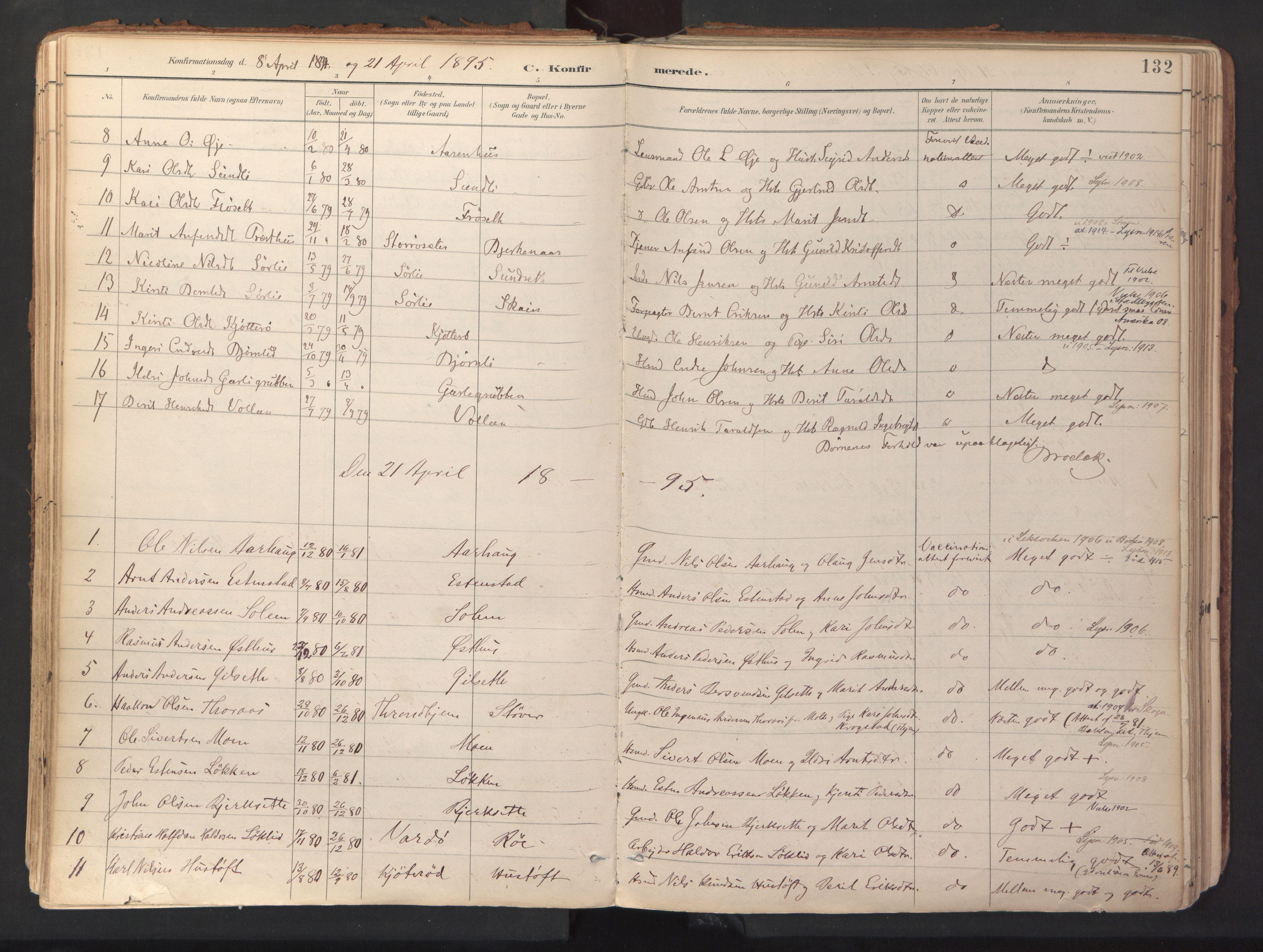 SAT, Ministerialprotokoller, klokkerbøker og fødselsregistre - Sør-Trøndelag, 689/L1041: Ministerialbok nr. 689A06, 1891-1923, s. 132