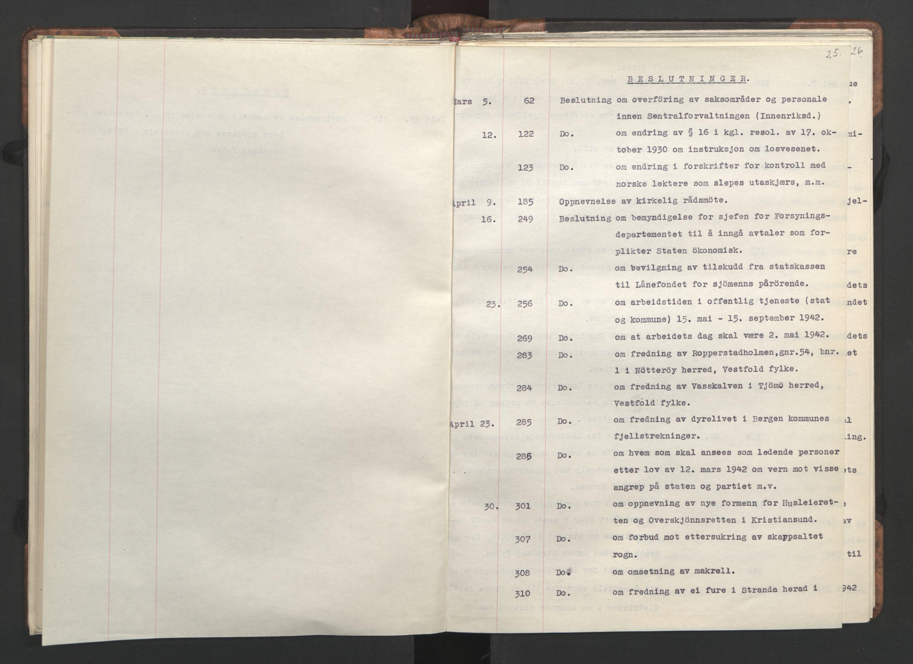 RA, NS-administrasjonen 1940-1945 (Statsrådsekretariatet, de kommisariske statsråder mm), D/Da/L0002: Register (RA j.nr. 985/1943, tilgangsnr. 17/1943), 1942, s. 24b-25a