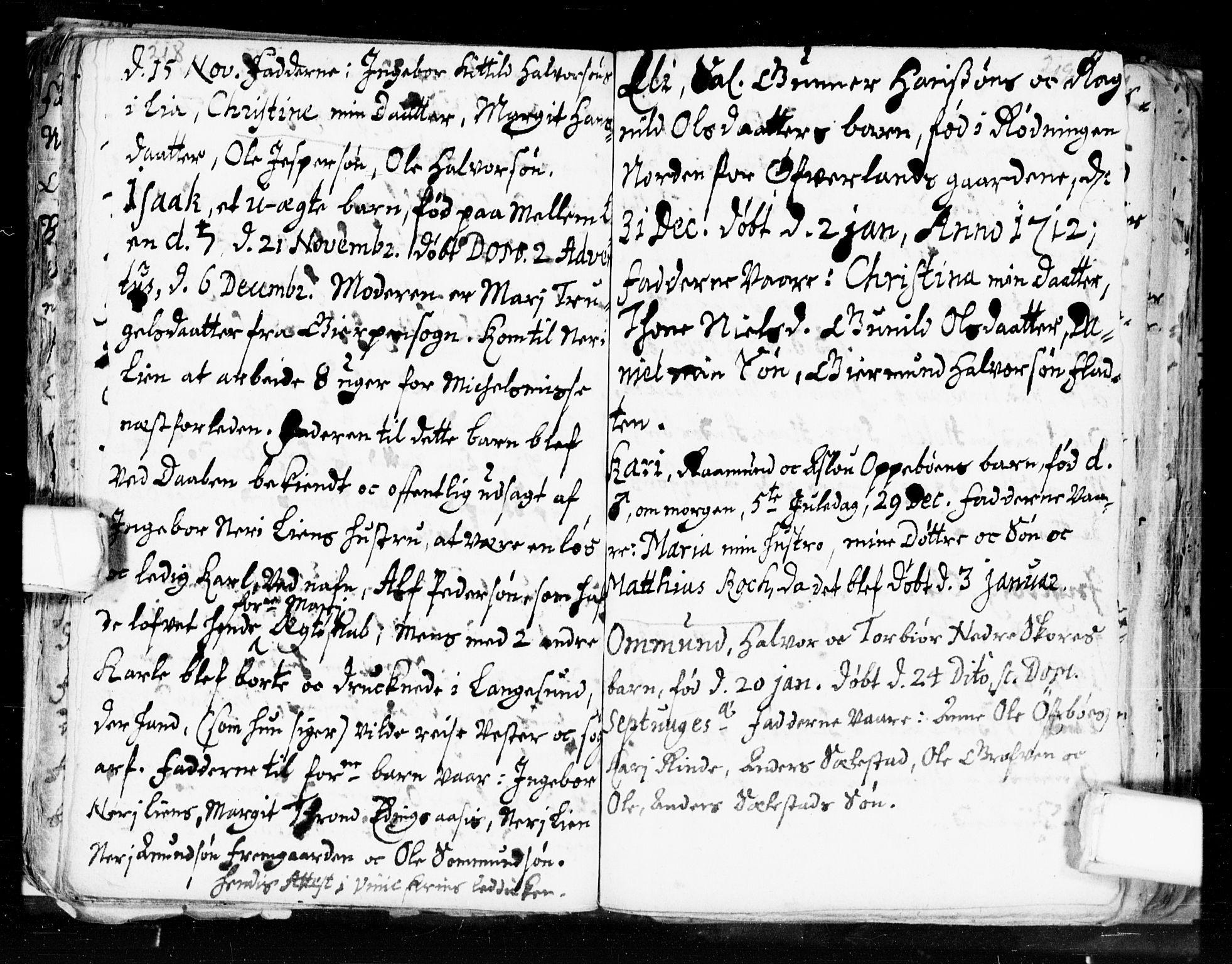 SAKO, Seljord kirkebøker, F/Fa/L0002: Ministerialbok nr. I 2, 1689-1713, s. 218-219