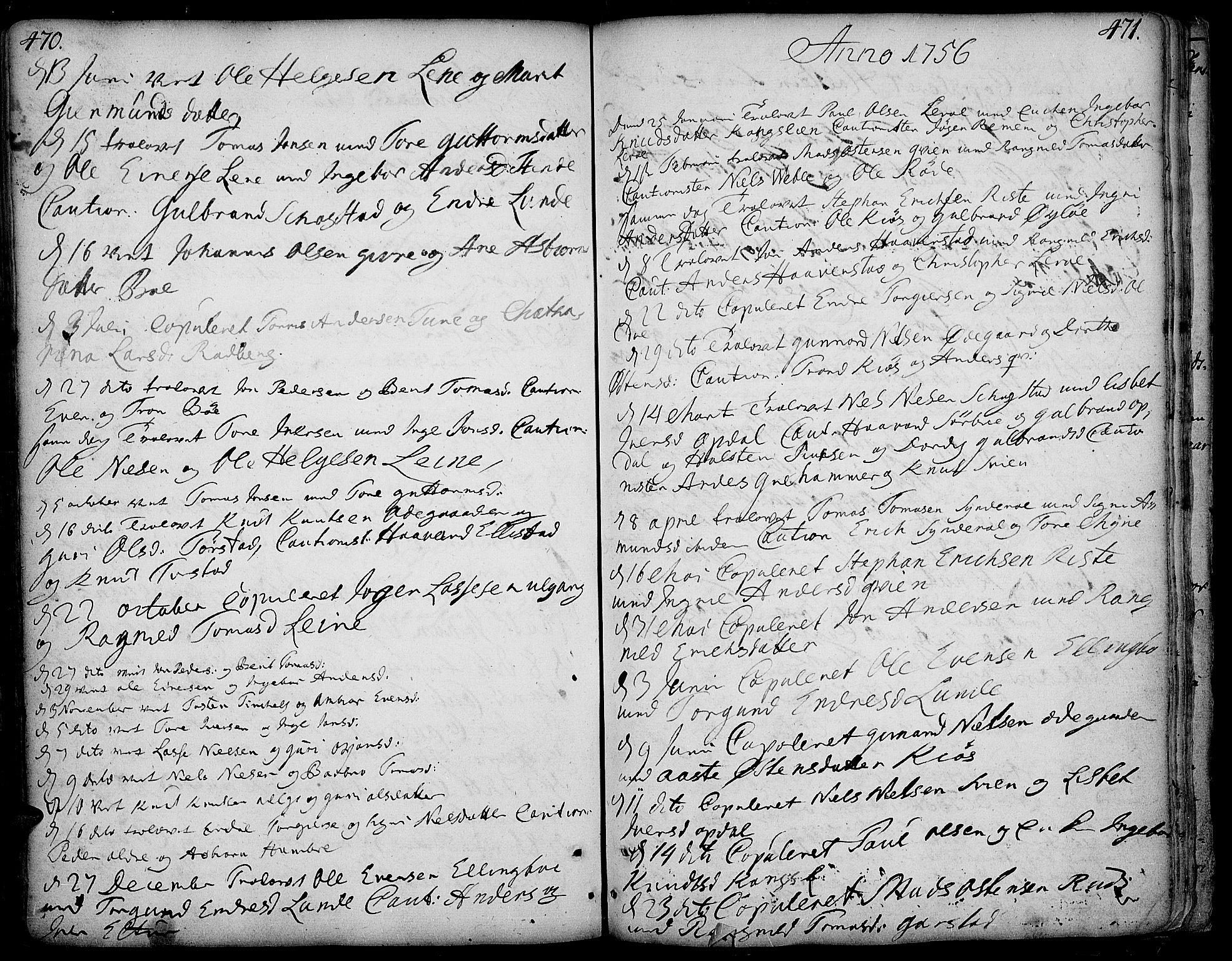 SAH, Vang prestekontor, Valdres, Ministerialbok nr. 1, 1730-1796, s. 470-471