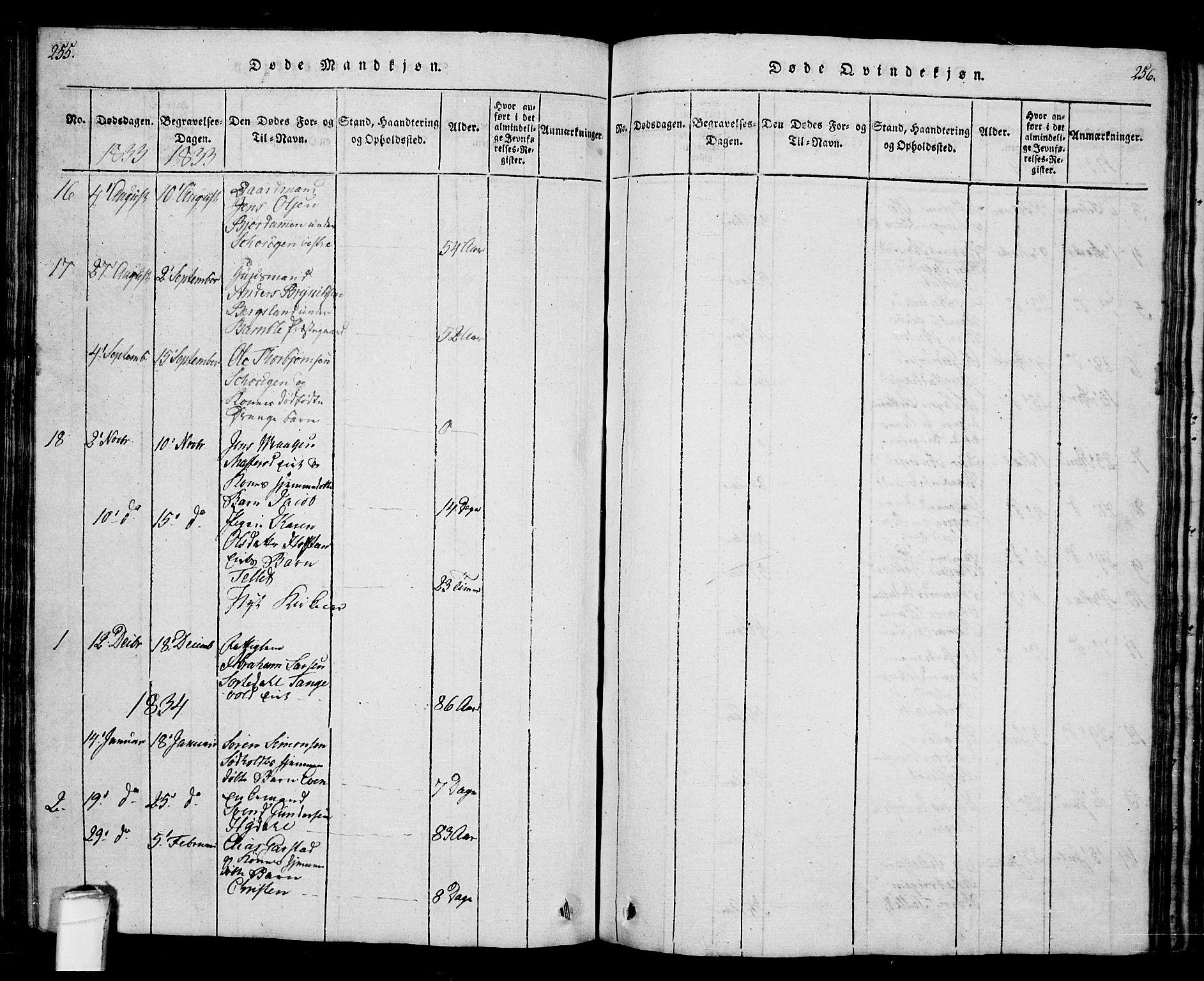 SAKO, Bamble kirkebøker, G/Ga/L0005: Klokkerbok nr. I 5, 1814-1855, s. 255-256