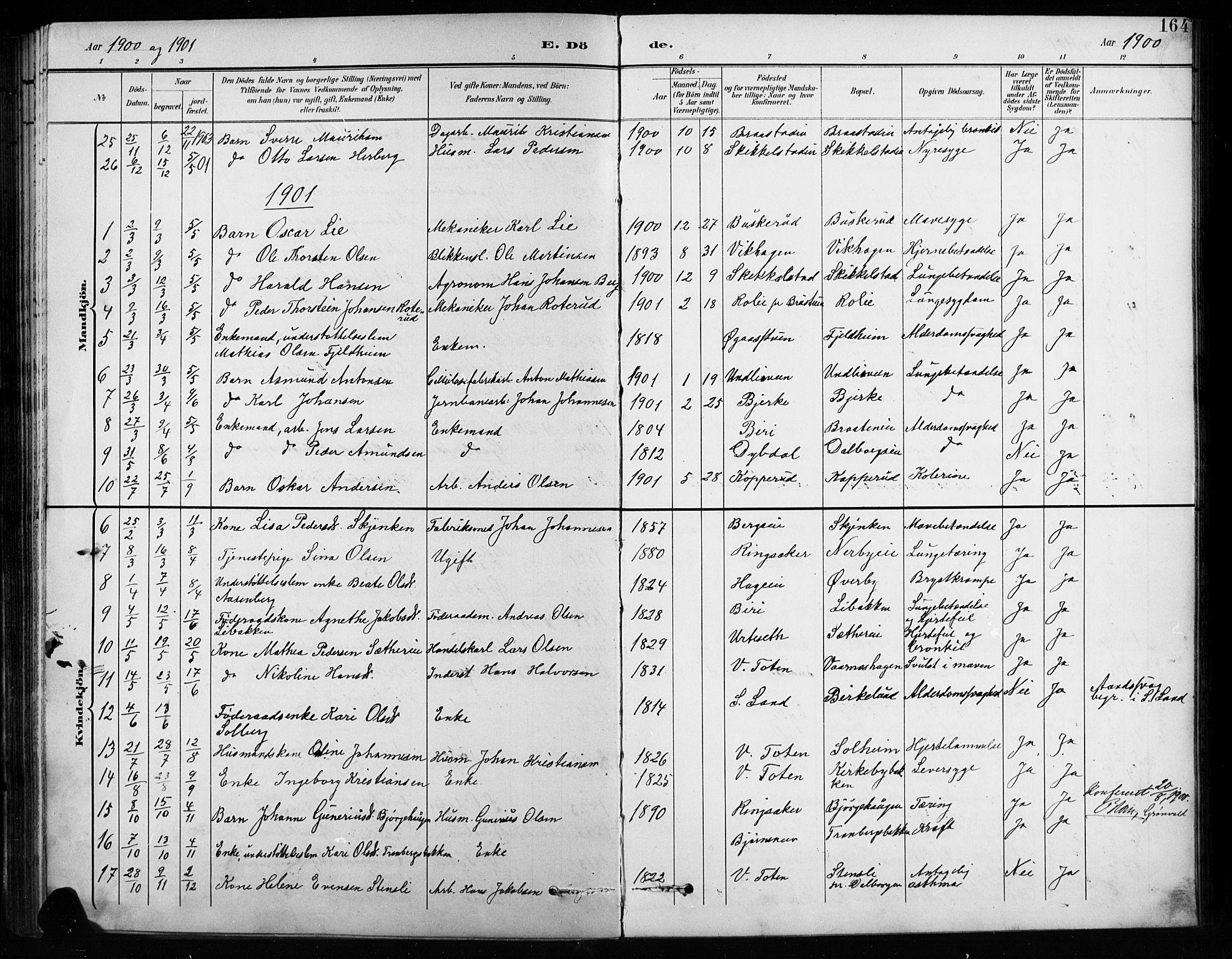SAH, Vardal prestekontor, H/Ha/Hab/L0010: Klokkerbok nr. 10, 1895-1903, s. 164