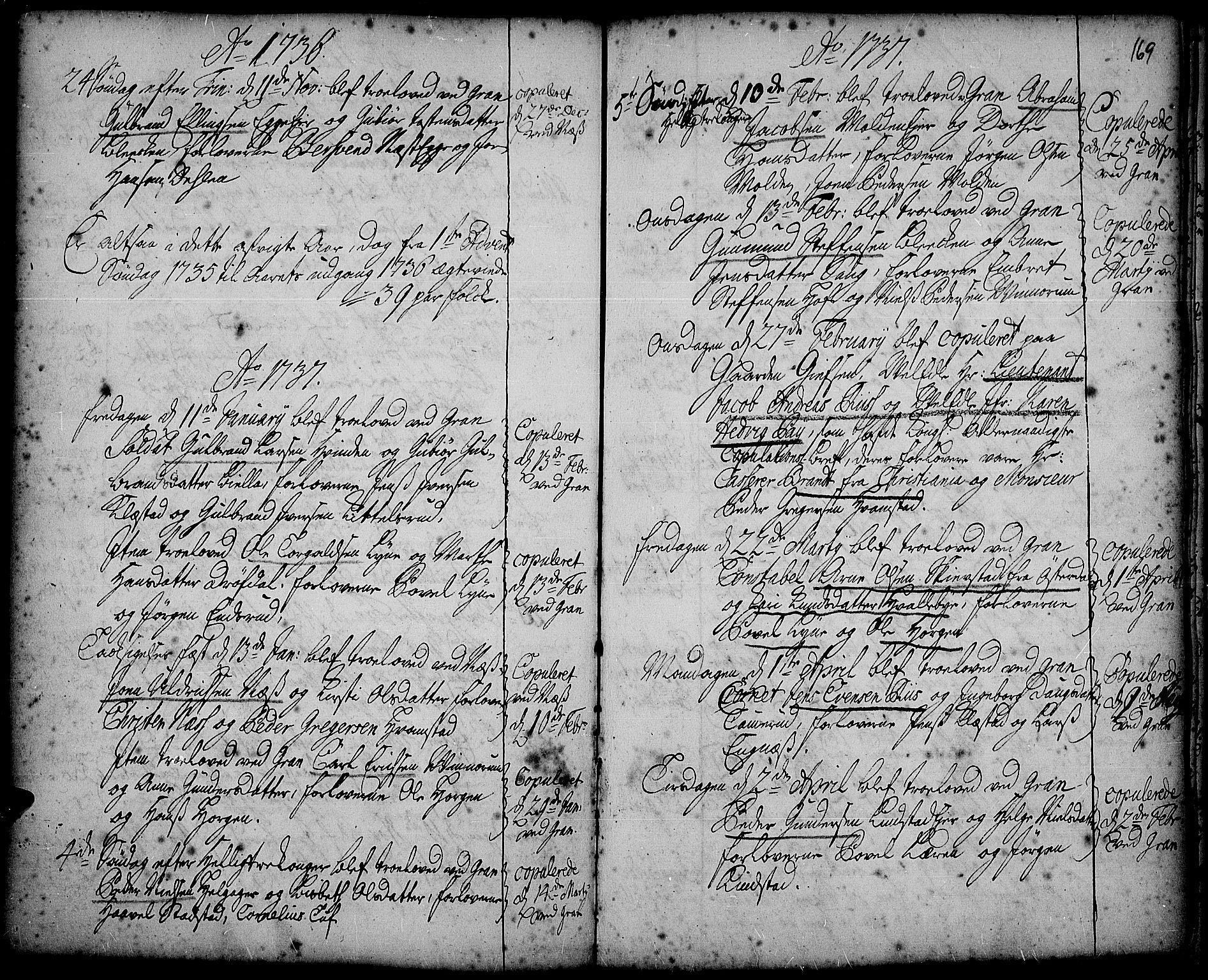 SAH, Gran prestekontor, Ministerialbok nr. 2, 1732-1744, s. 169