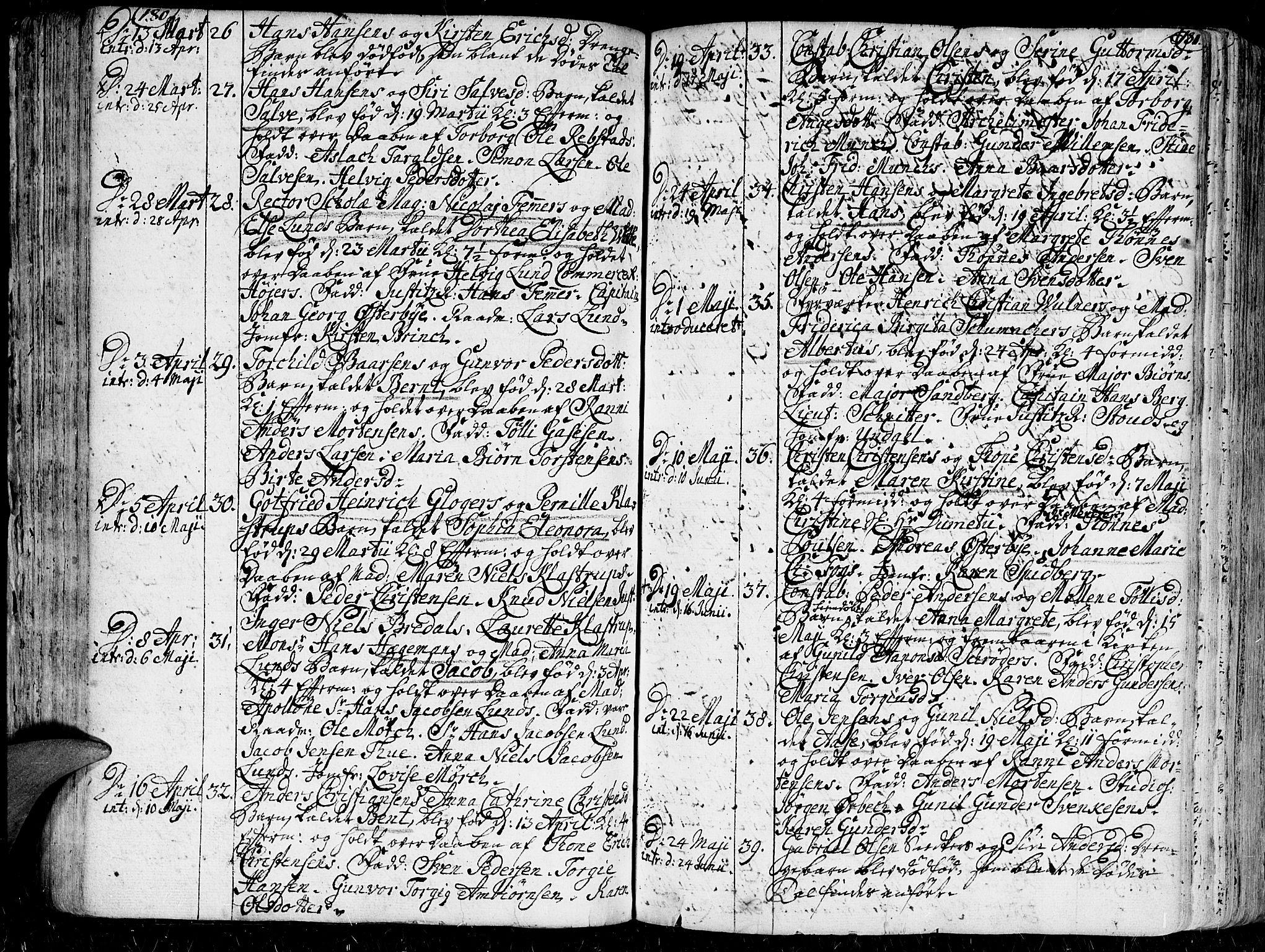SAK, Kristiansand domprosti, F/Fa/L0001: Ministerialbok nr. A 1, 1734-1793, s. 180-181