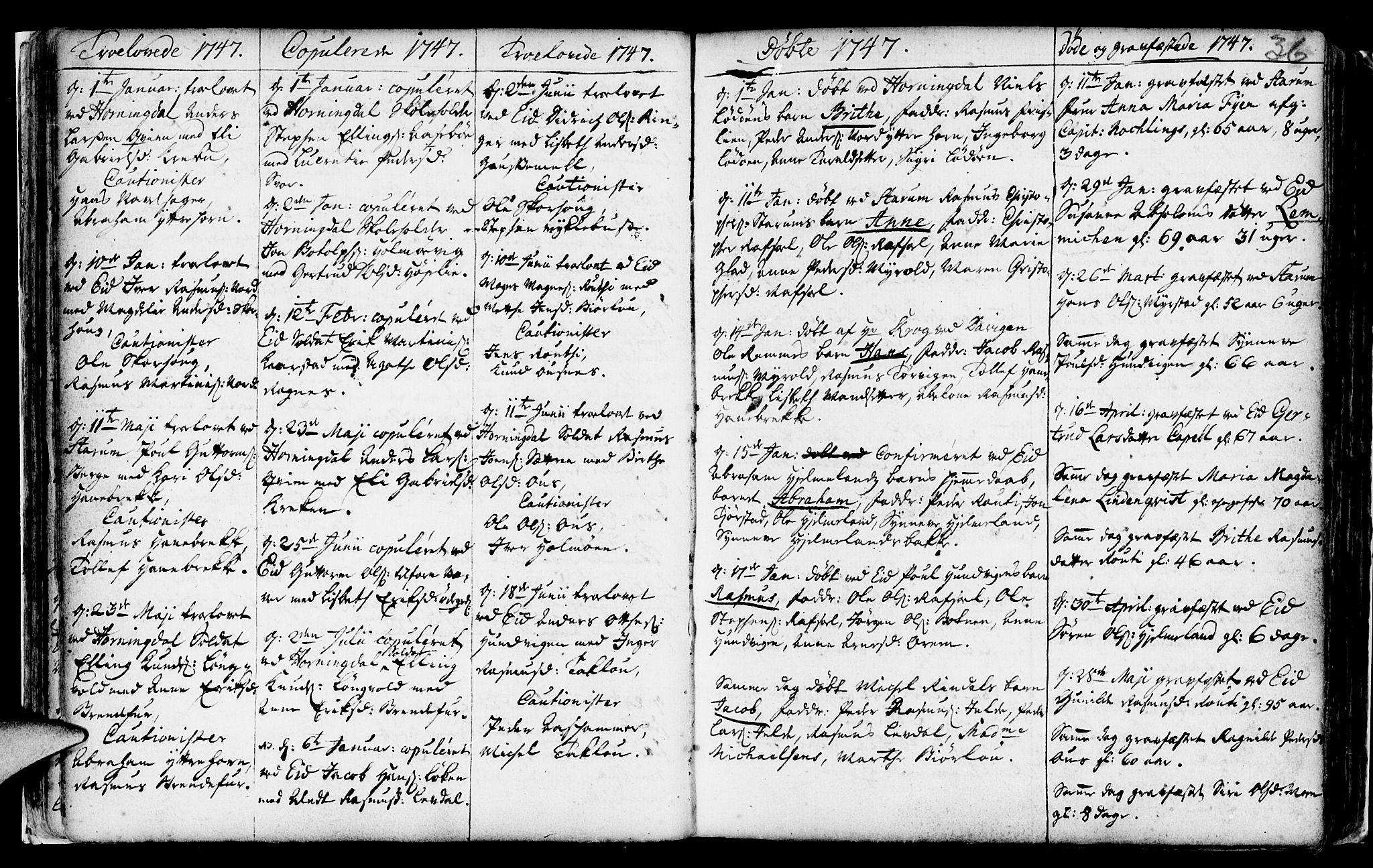 SAB, Eid Sokneprestembete, H/Haa: Ministerialbok nr. A 2, 1741-1769, s. 36