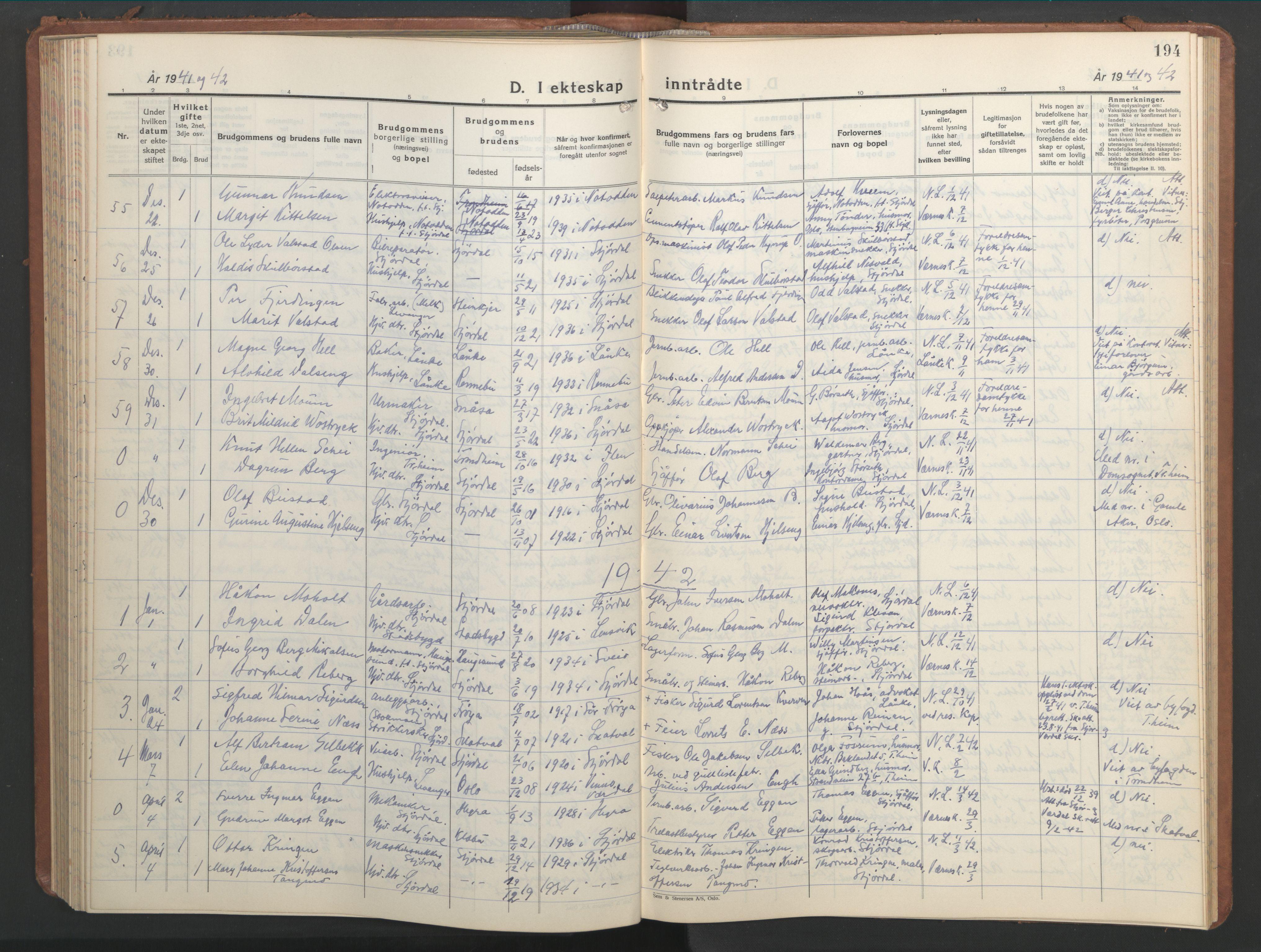 SAT, Ministerialprotokoller, klokkerbøker og fødselsregistre - Nord-Trøndelag, 709/L0089: Klokkerbok nr. 709C03, 1935-1948, s. 194