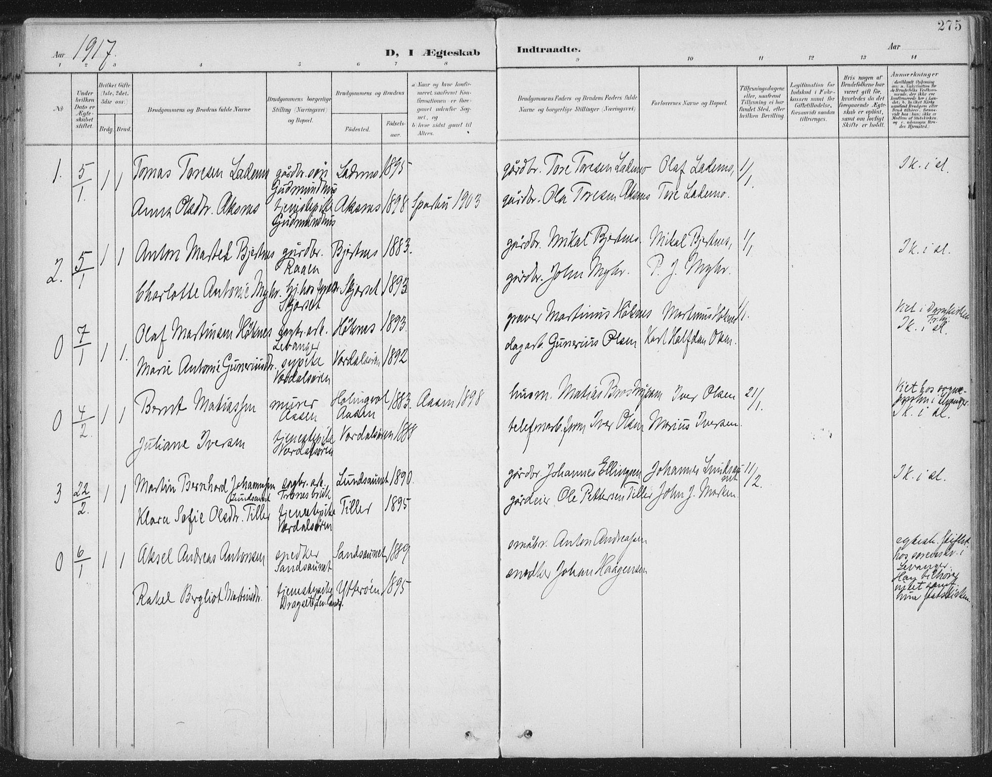 SAT, Ministerialprotokoller, klokkerbøker og fødselsregistre - Nord-Trøndelag, 723/L0246: Ministerialbok nr. 723A15, 1900-1917, s. 275