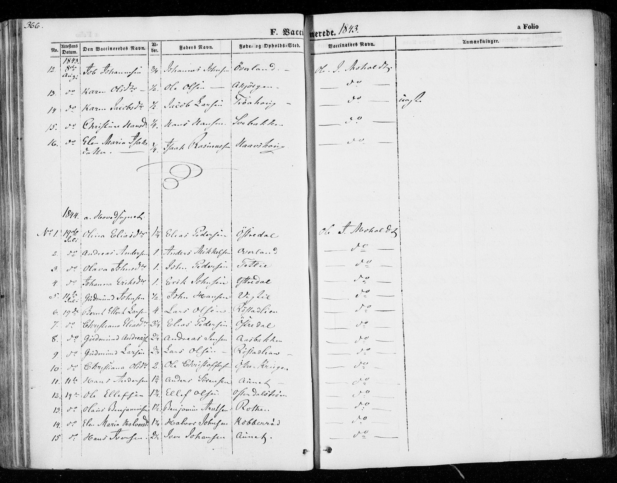 SAT, Ministerialprotokoller, klokkerbøker og fødselsregistre - Nord-Trøndelag, 701/L0007: Ministerialbok nr. 701A07 /1, 1842-1854, s. 366