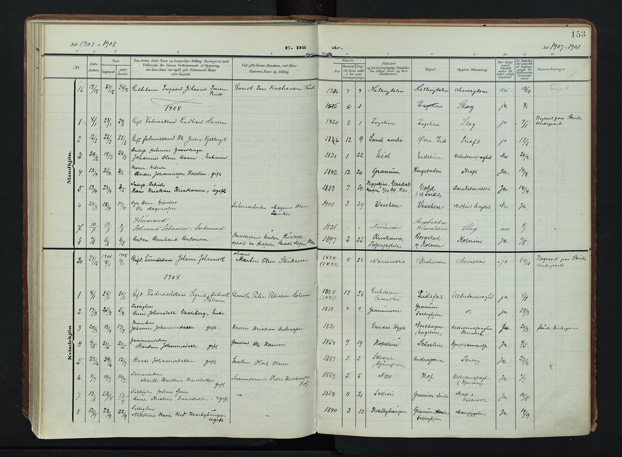 SAH, Søndre Land prestekontor, K/L0007: Ministerialbok nr. 7, 1905-1914, s. 153