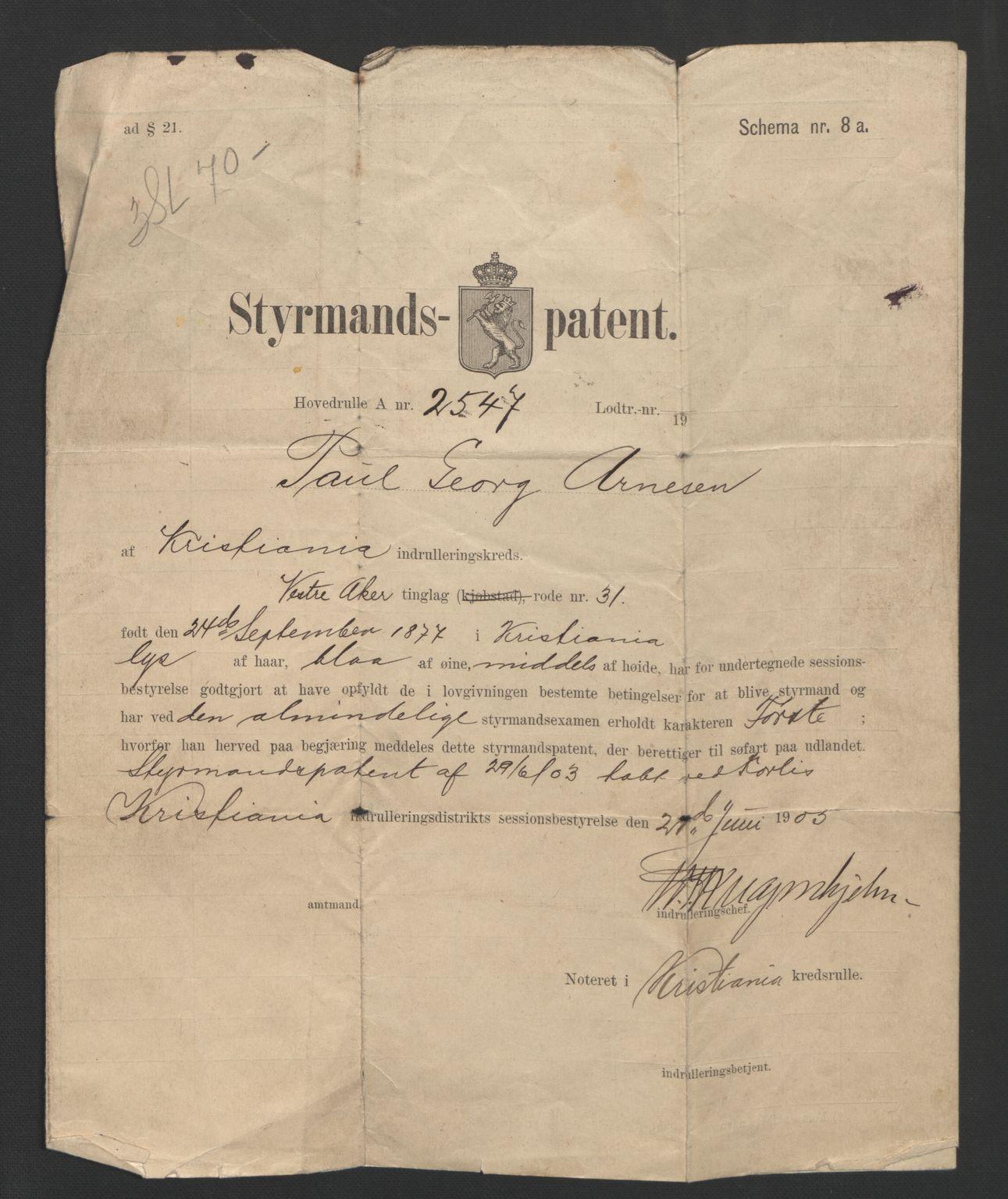 SAO, Oslo sjømannskontor, F/Fc/L0002: Hovedrulle, 1889-1893, s. upaginert