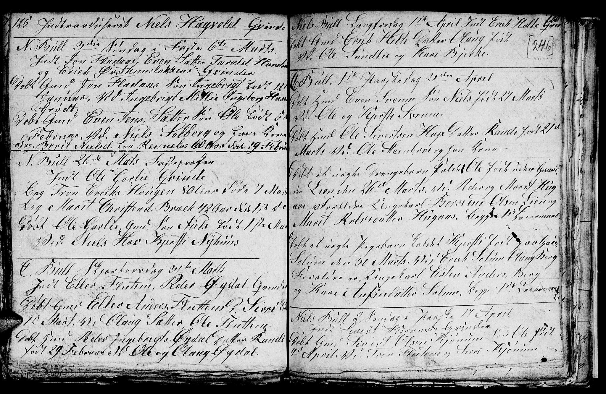 SAT, Ministerialprotokoller, klokkerbøker og fødselsregistre - Sør-Trøndelag, 689/L1042: Klokkerbok nr. 689C01, 1812-1841, s. 245-246