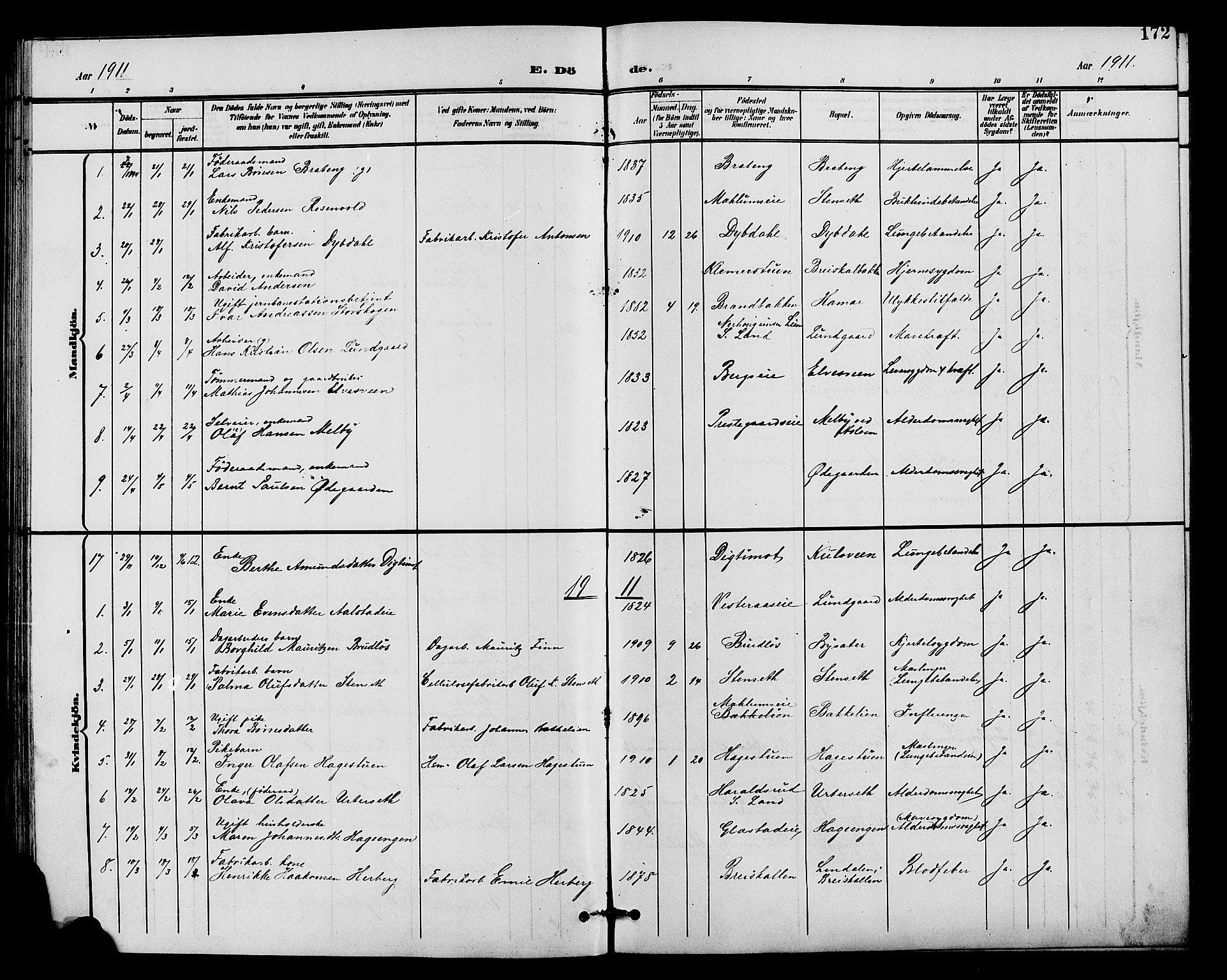SAH, Vardal prestekontor, H/Ha/Hab/L0011: Klokkerbok nr. 11, 1899-1913, s. 172