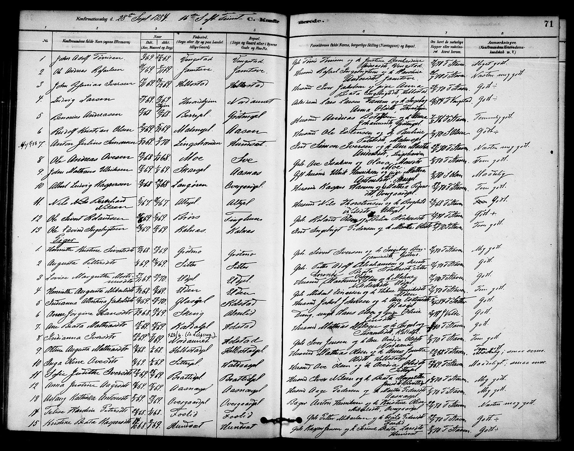 SAT, Ministerialprotokoller, klokkerbøker og fødselsregistre - Nord-Trøndelag, 742/L0408: Ministerialbok nr. 742A01, 1878-1890, s. 71
