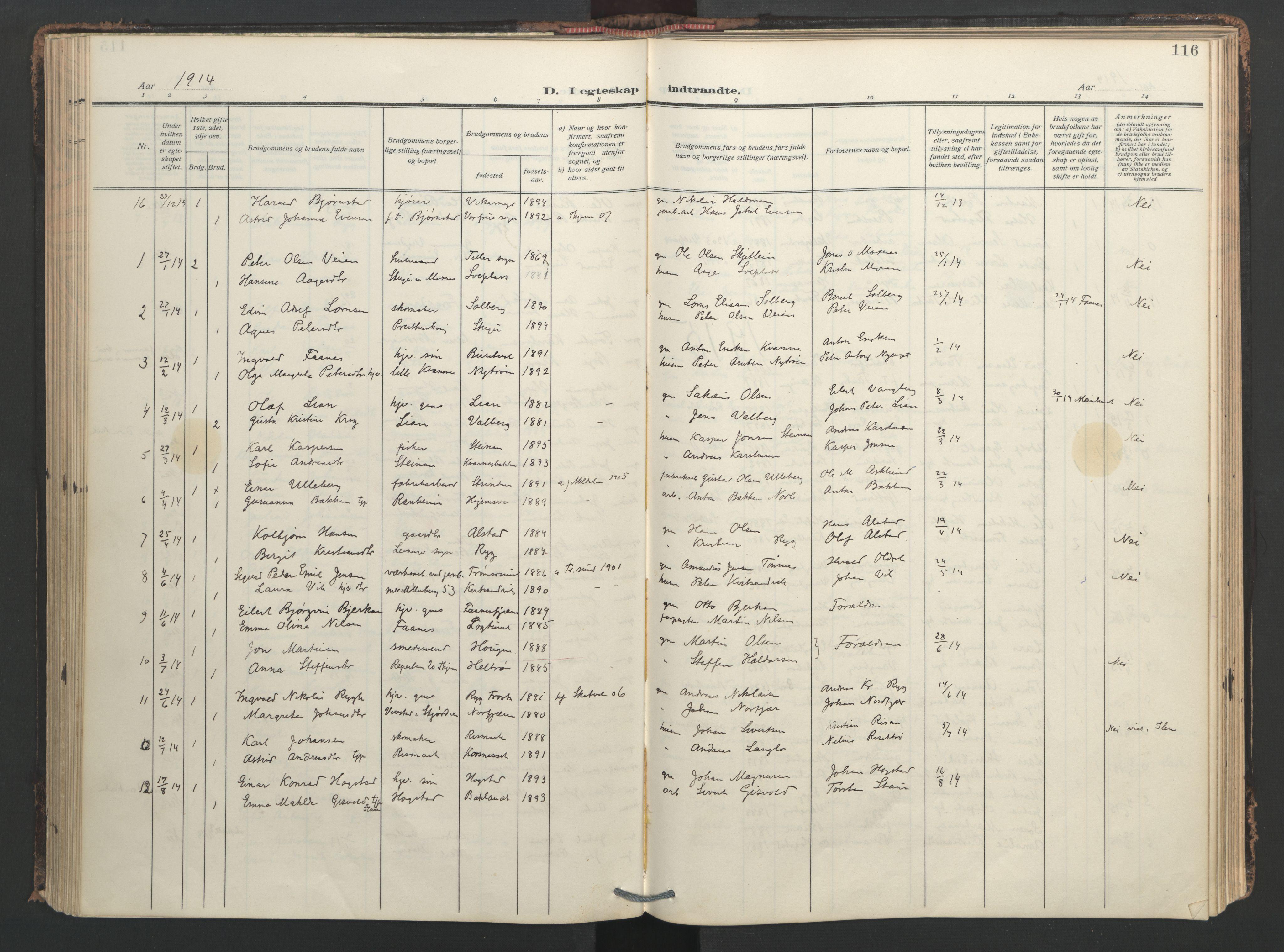 SAT, Ministerialprotokoller, klokkerbøker og fødselsregistre - Nord-Trøndelag, 713/L0123: Ministerialbok nr. 713A12, 1911-1925, s. 116