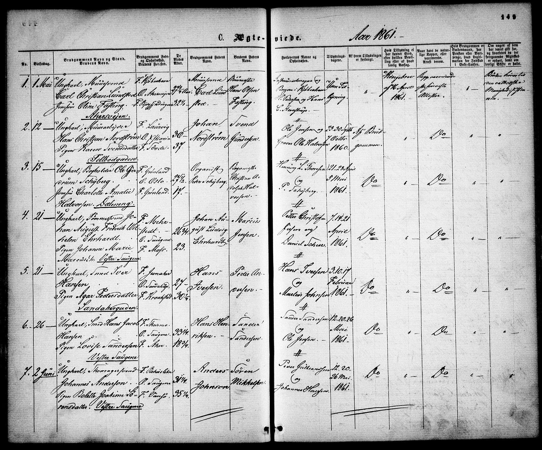 SAO, Gamle Aker prestekontor Kirkebøker, F/L0001: Ministerialbok nr. 1, 1861-1865, s. 149