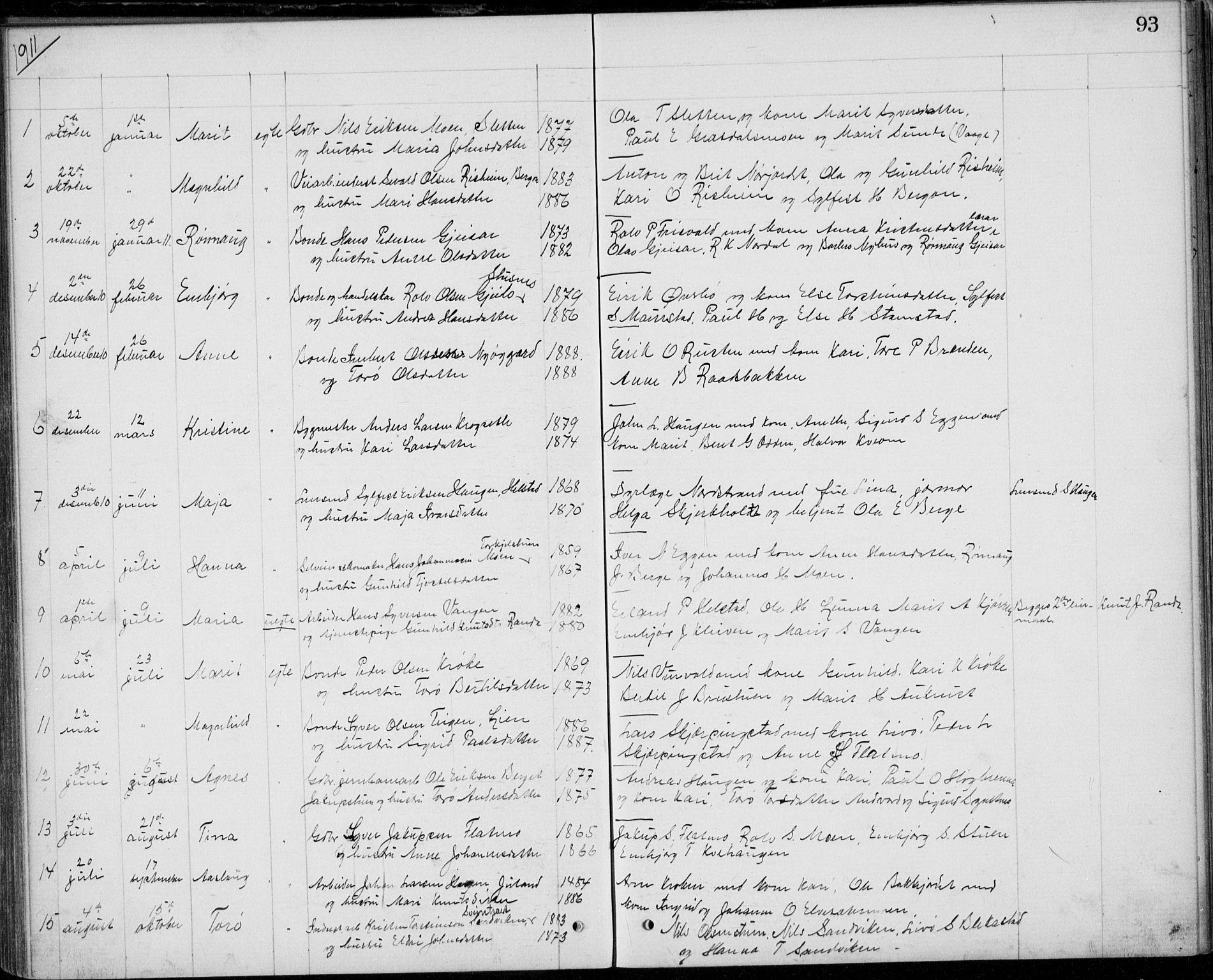 SAH, Lom prestekontor, L/L0013: Klokkerbok nr. 13, 1874-1938, s. 93