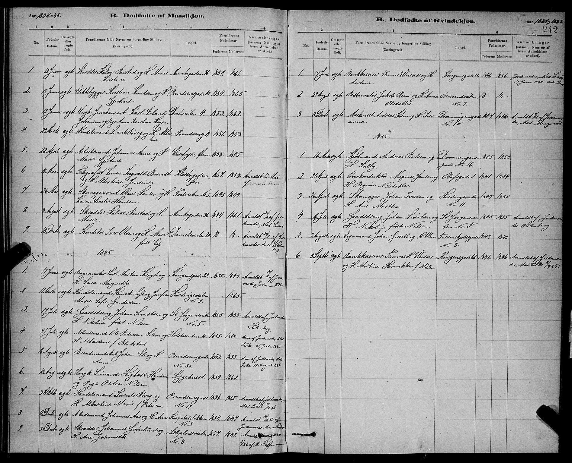 SAT, Ministerialprotokoller, klokkerbøker og fødselsregistre - Sør-Trøndelag, 601/L0092: Klokkerbok nr. 601C10, 1884-1897, s. 242