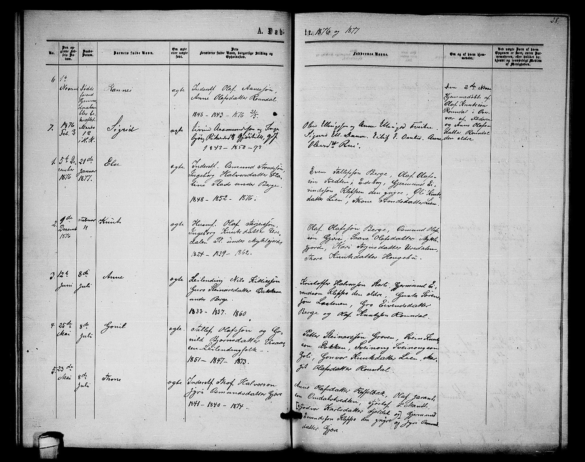 SAKO, Lårdal kirkebøker, G/Gb/L0002: Klokkerbok nr. II 2, 1865-1888, s. 23