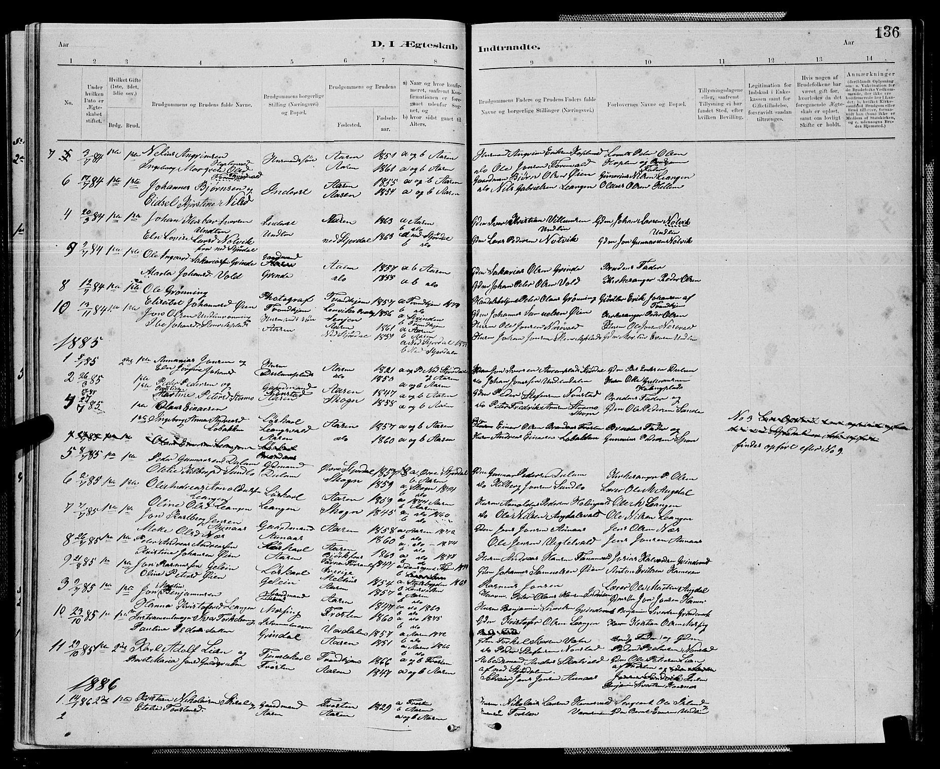 SAT, Ministerialprotokoller, klokkerbøker og fødselsregistre - Nord-Trøndelag, 714/L0134: Klokkerbok nr. 714C03, 1878-1898, s. 136