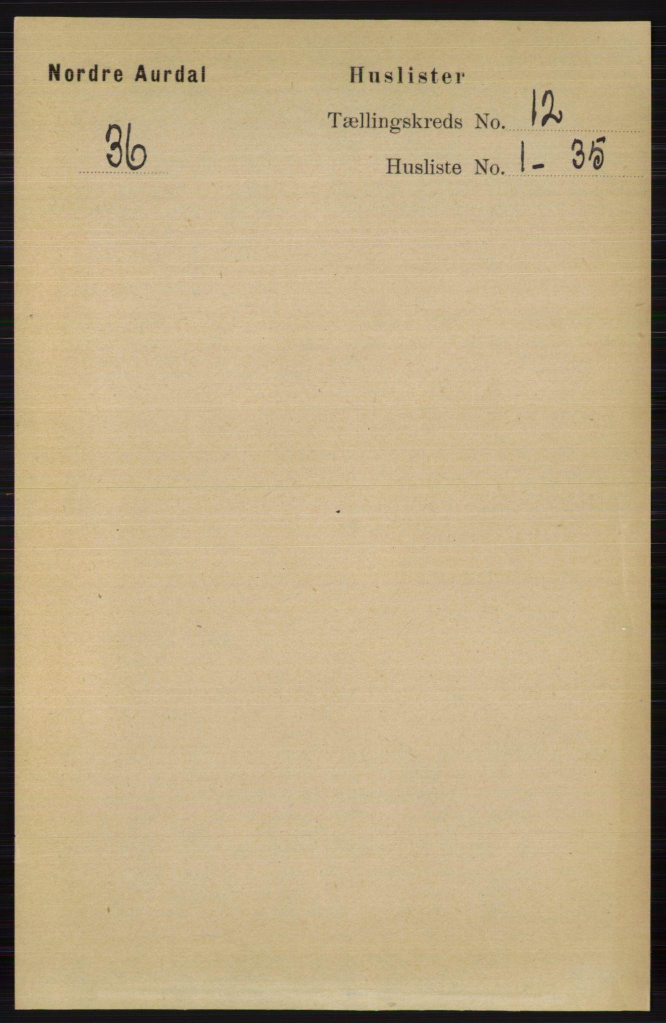 RA, Folketelling 1891 for 0542 Nord-Aurdal herred, 1891, s. 4463
