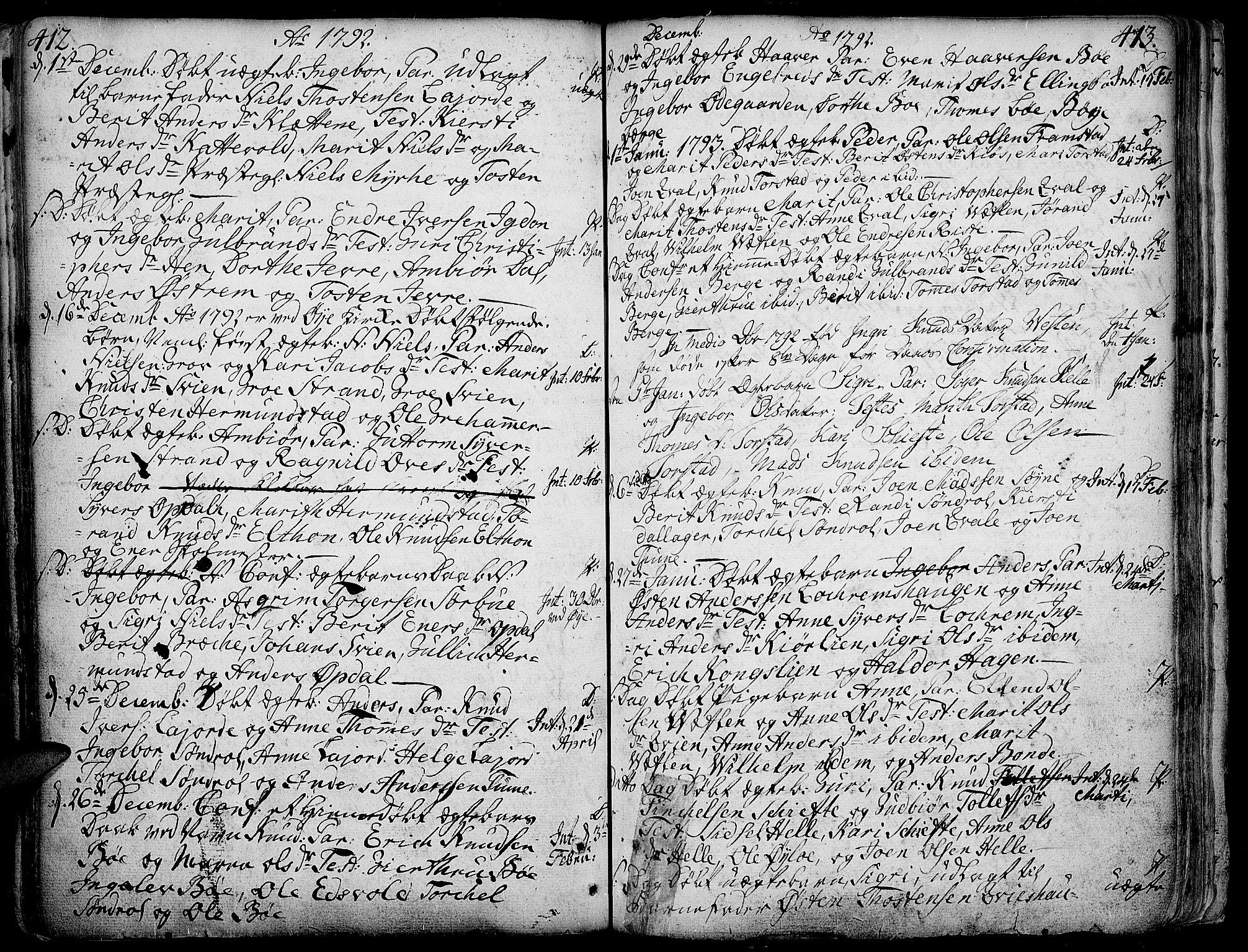 SAH, Vang prestekontor, Valdres, Ministerialbok nr. 1, 1730-1796, s. 412-413