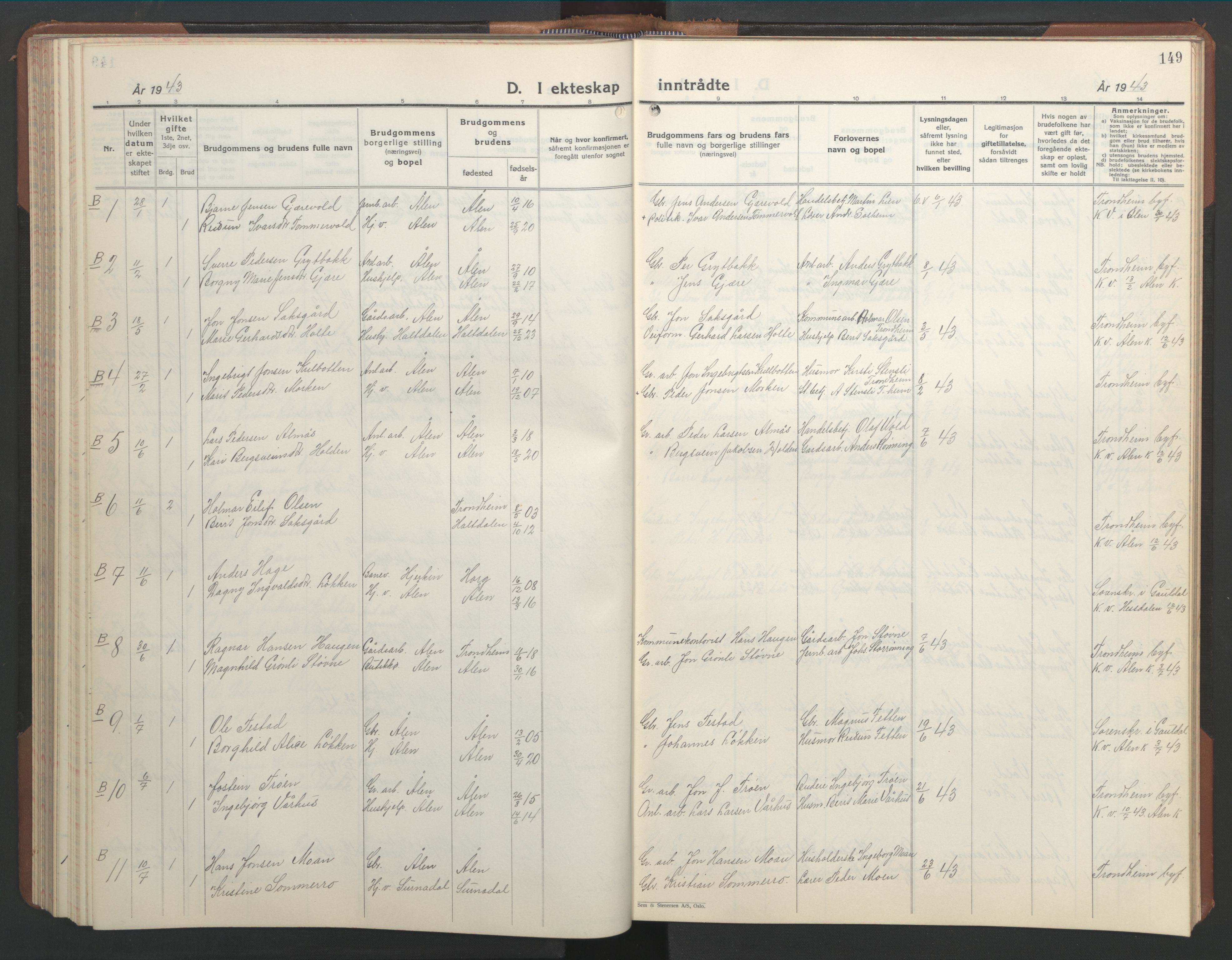 SAT, Ministerialprotokoller, klokkerbøker og fødselsregistre - Sør-Trøndelag, 686/L0986: Klokkerbok nr. 686C02, 1933-1950, s. 149