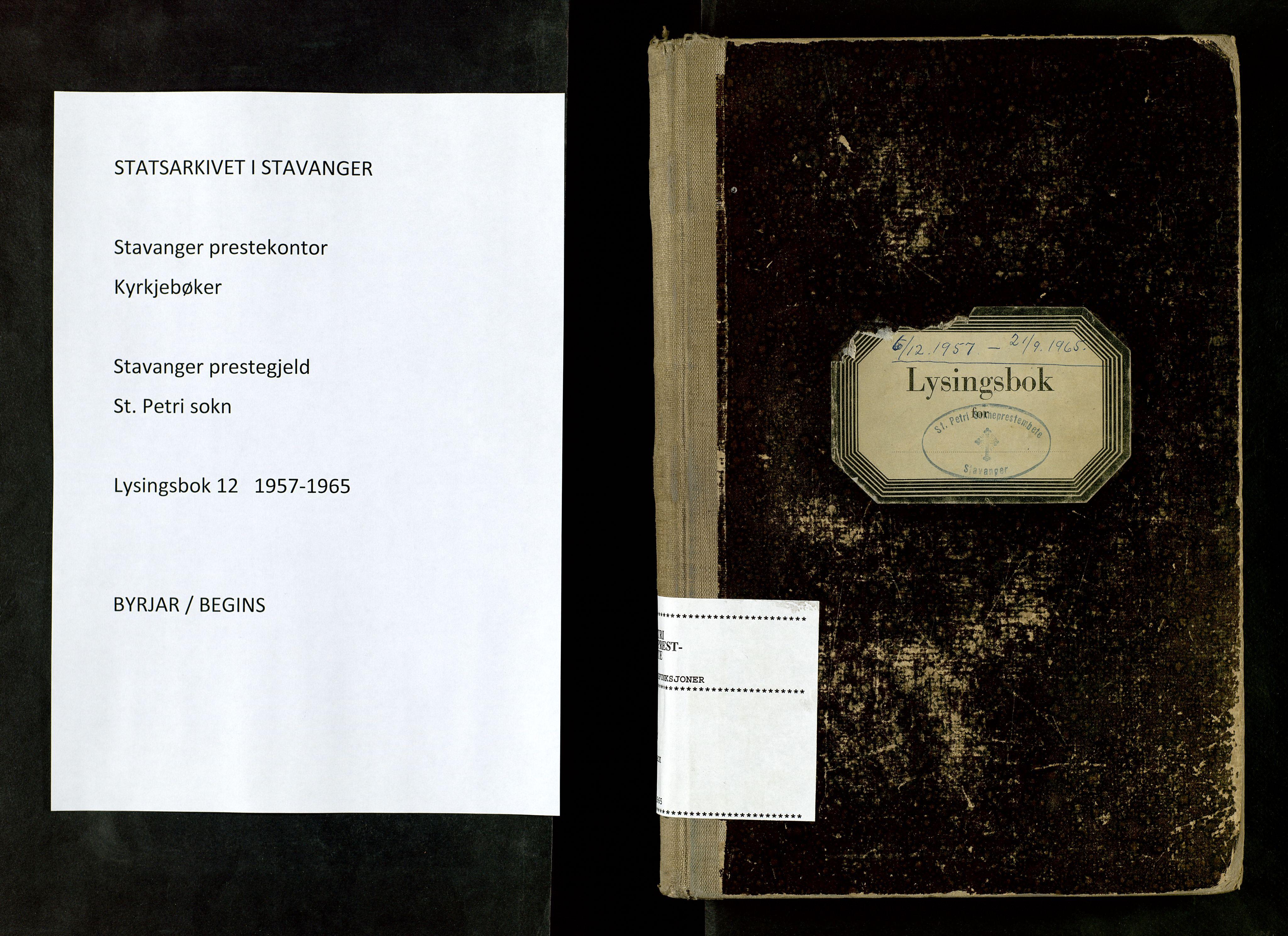 SAST, St. Petri sokneprestkontor, 70/705BA/L0012: Lysningsprotokoll nr. 12, 1957-1965