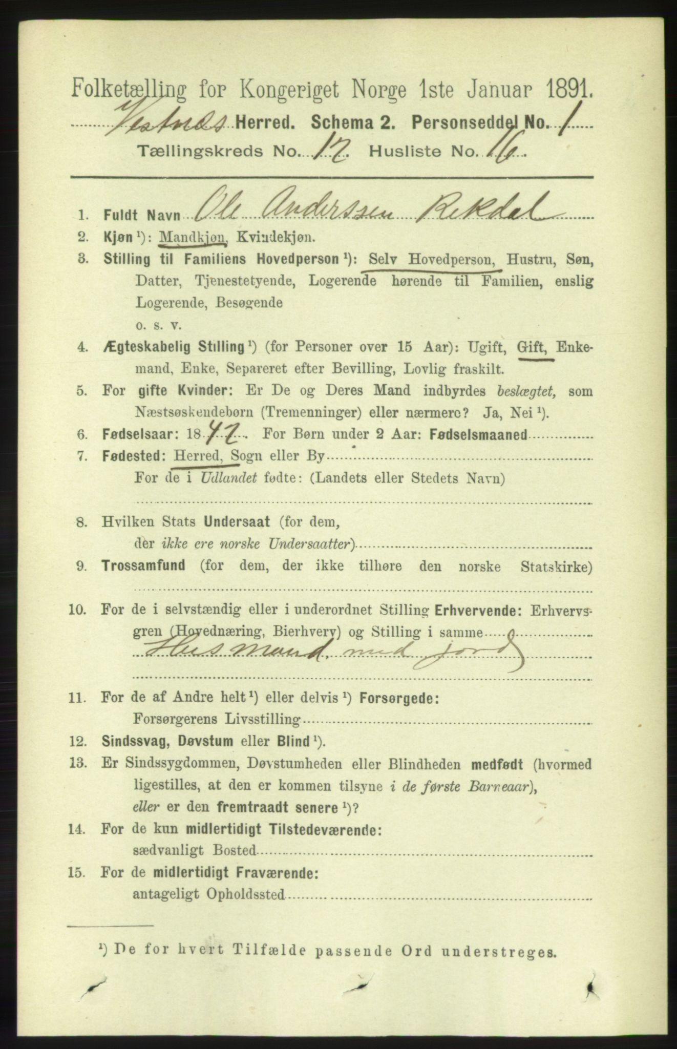 RA, Folketelling 1891 for 1535 Vestnes herred, 1891, s. 4486