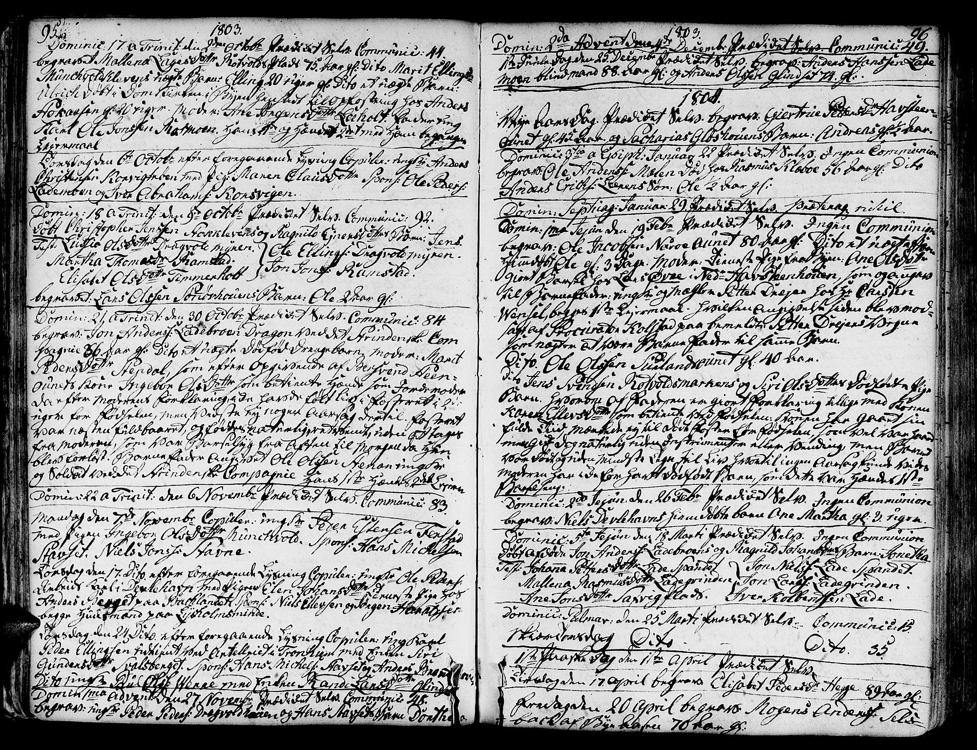 SAT, Ministerialprotokoller, klokkerbøker og fødselsregistre - Sør-Trøndelag, 606/L0280: Ministerialbok nr. 606A02 /1, 1781-1817, s. 95-96